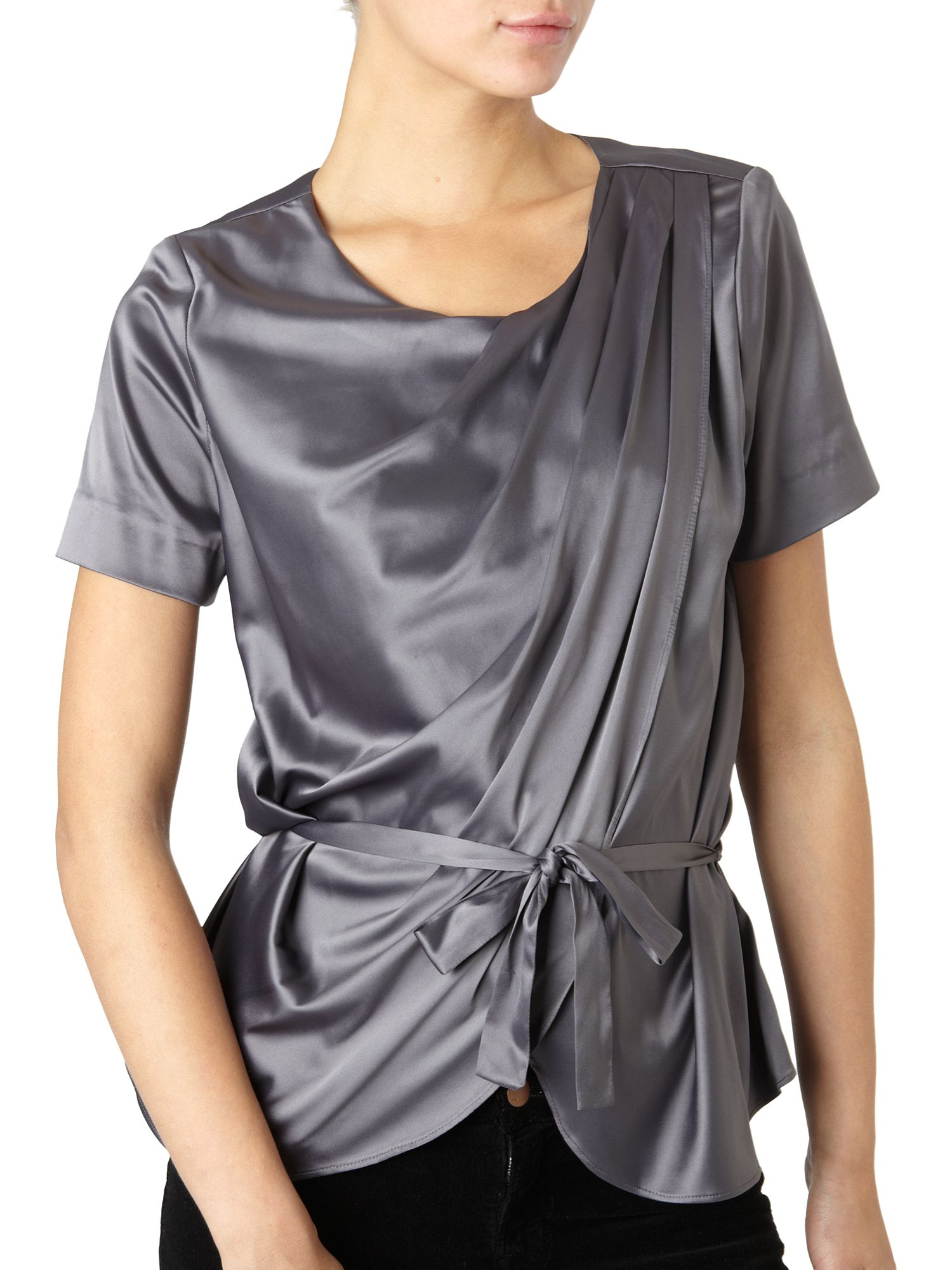Linea Drape Shoulder Blouse Grey product image