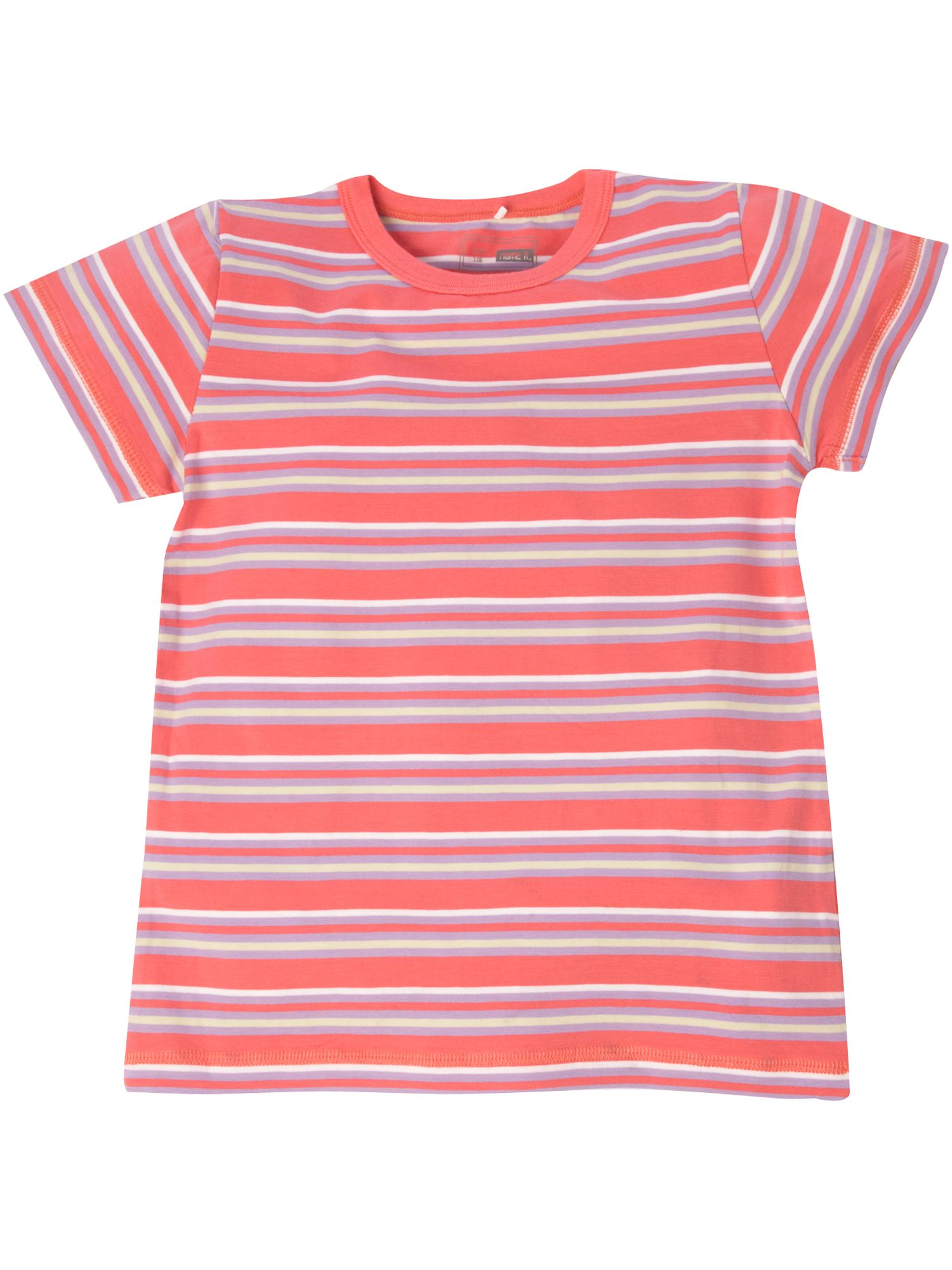 name it Short-sleeved striped T-shirt - Coral `12 yrs,4 product image