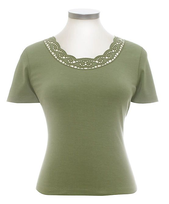 Eastex Cutwork scrolls tee Light Green product image
