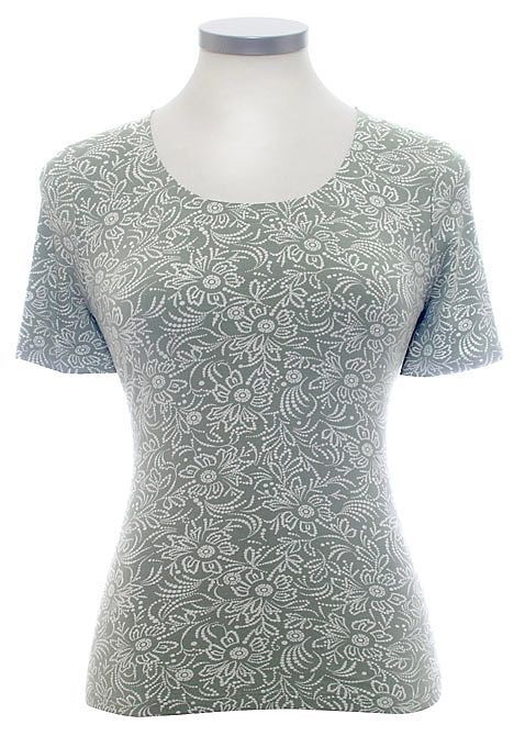 Eastex Short sleeved batik scoop tee Light Green product image