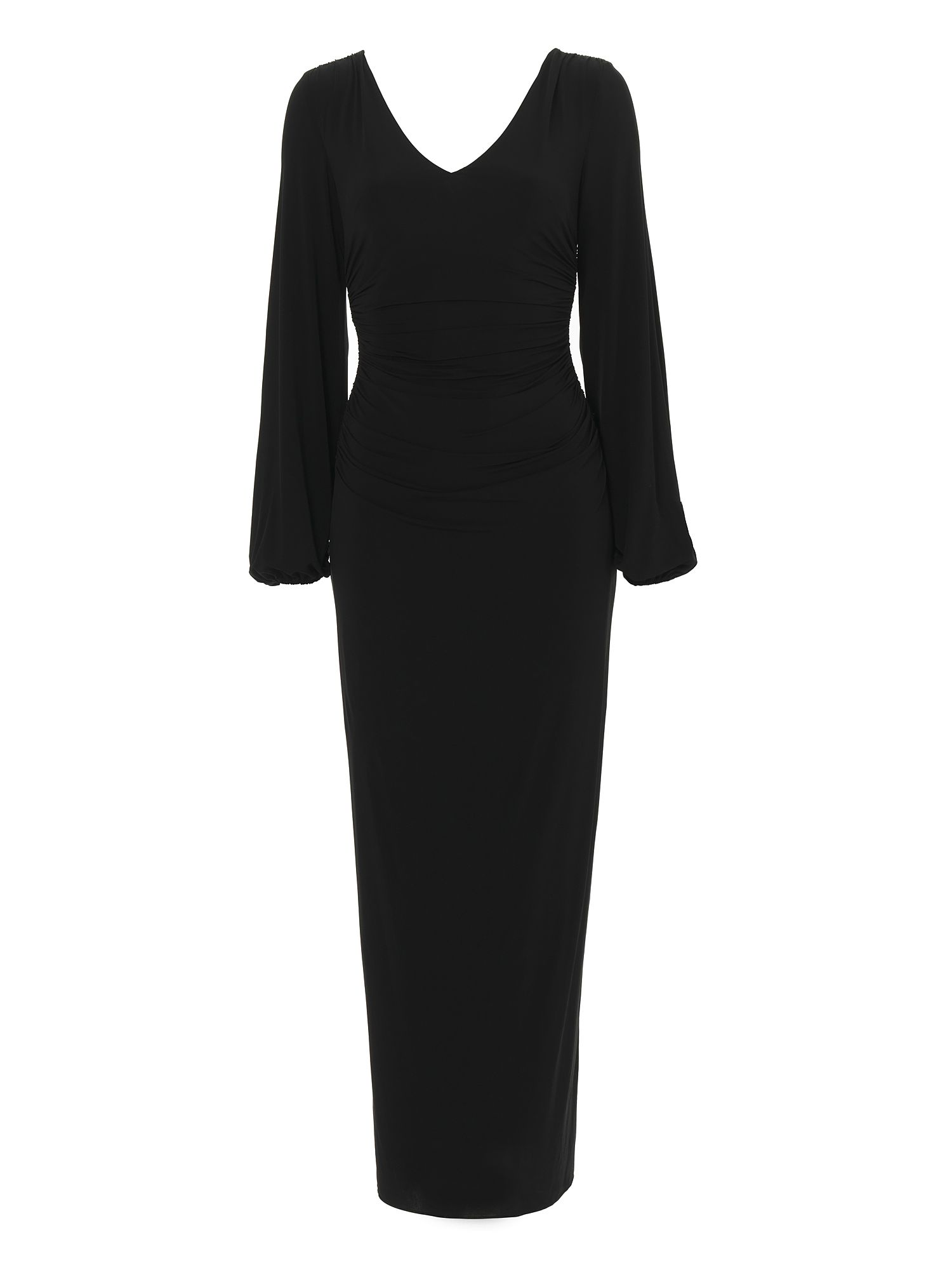 Long sleeve jersey column maxi dress Black
