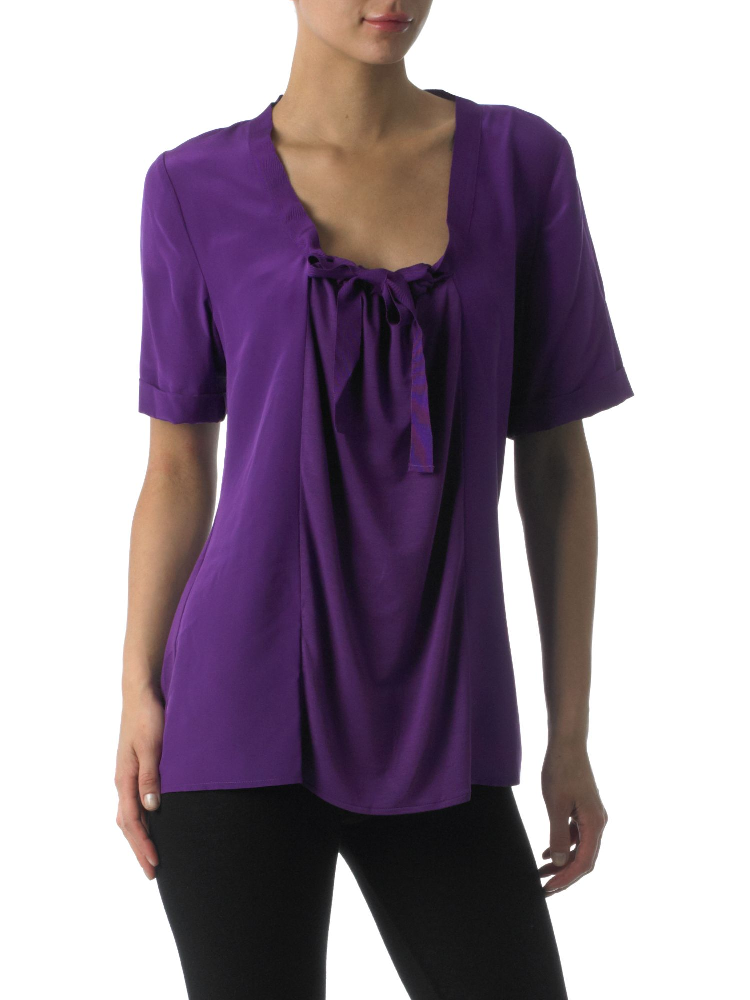 T Tahari Short sleeved ruched front blouse - Purple XS,XS product image