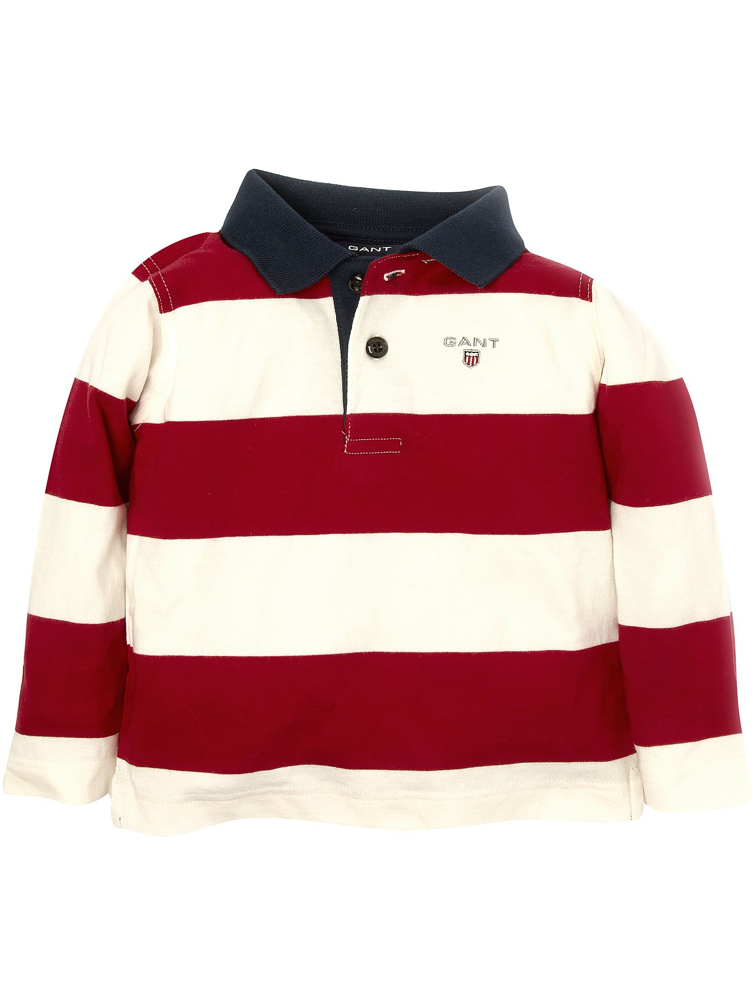 Long-sleeved block striped rugby shirt Red