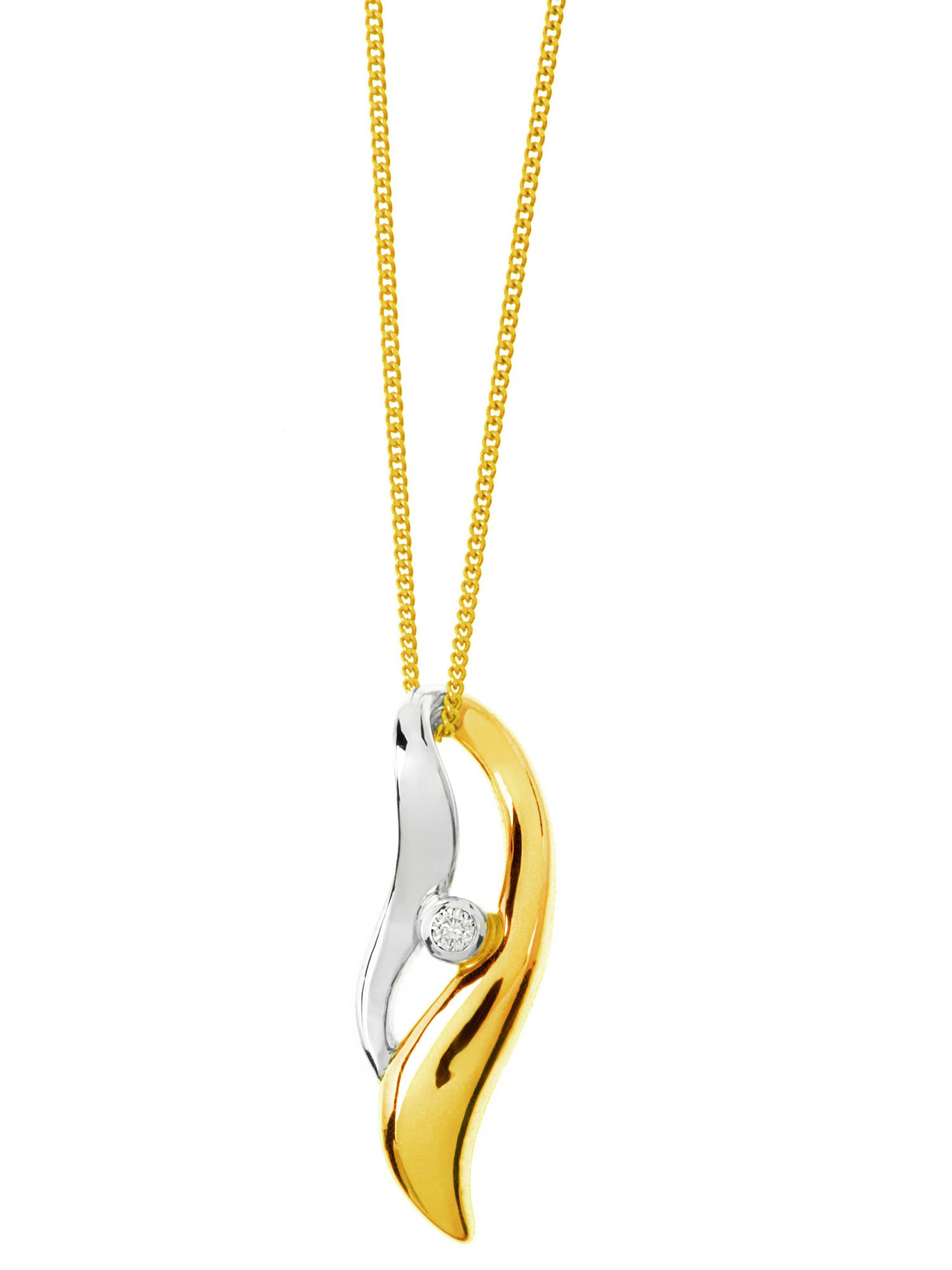9ct 2 colour gold diamond set twist pendant