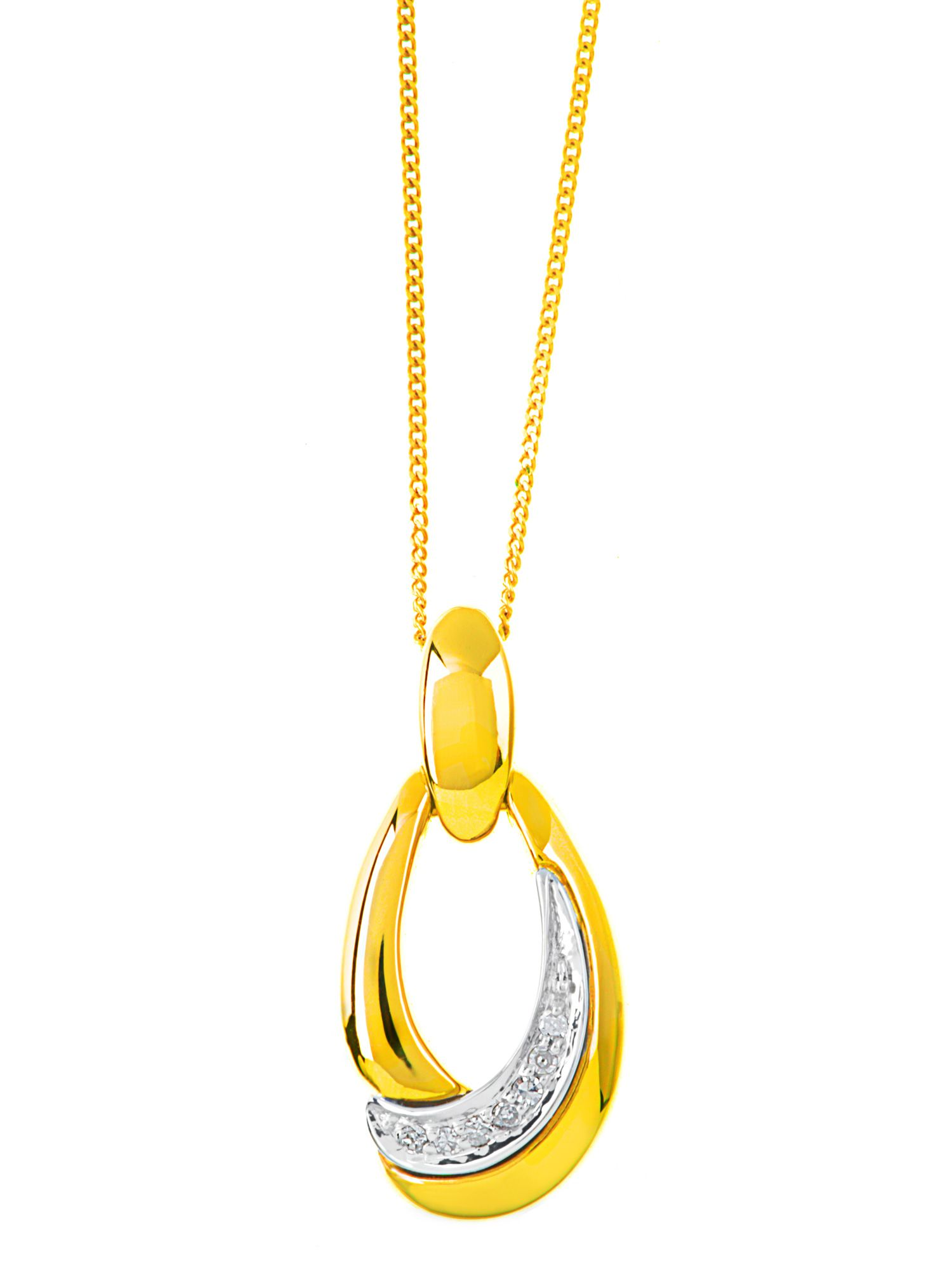 9ct 2 colour gold diamond set oval pendant