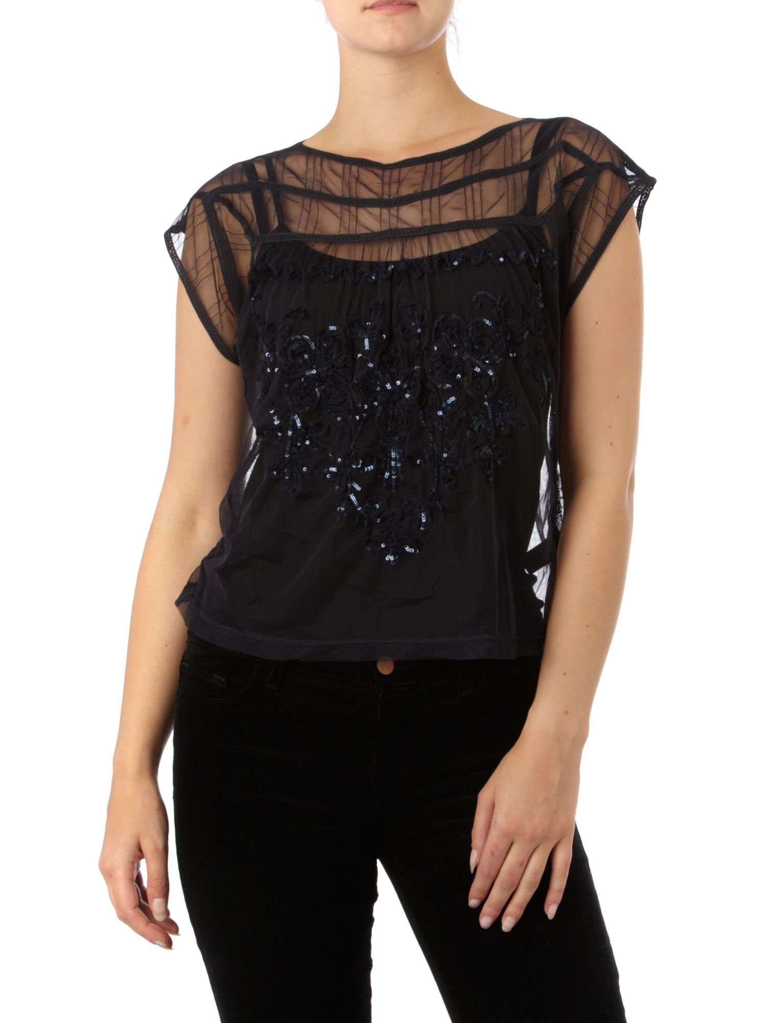 Therapy Sequin mesh blouse - Navy 14,14 product image