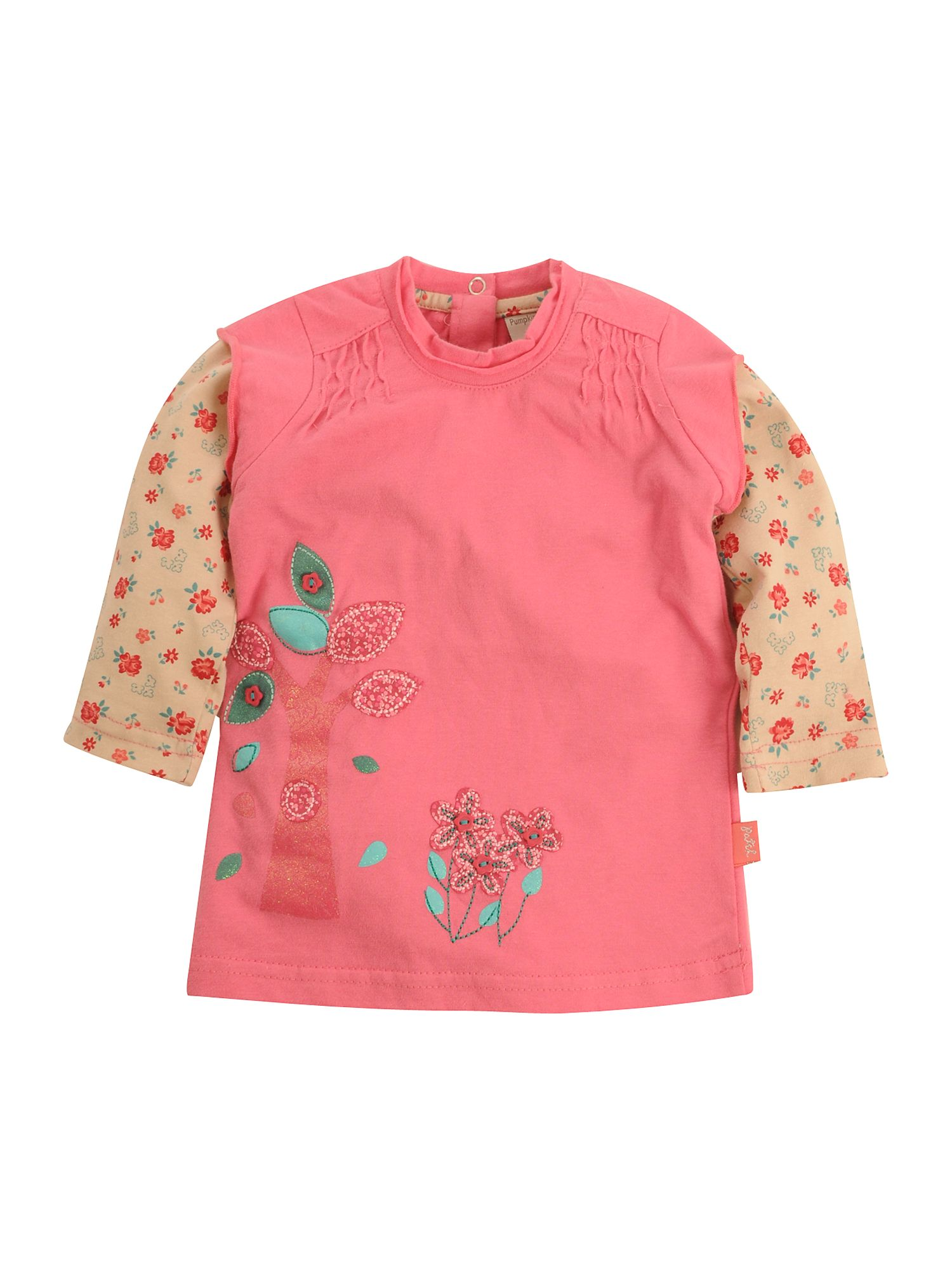 Pumpkin Patch Double-sleeved tree applique T-shirt Pink product image