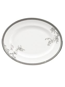 Lace platinum small oval dish