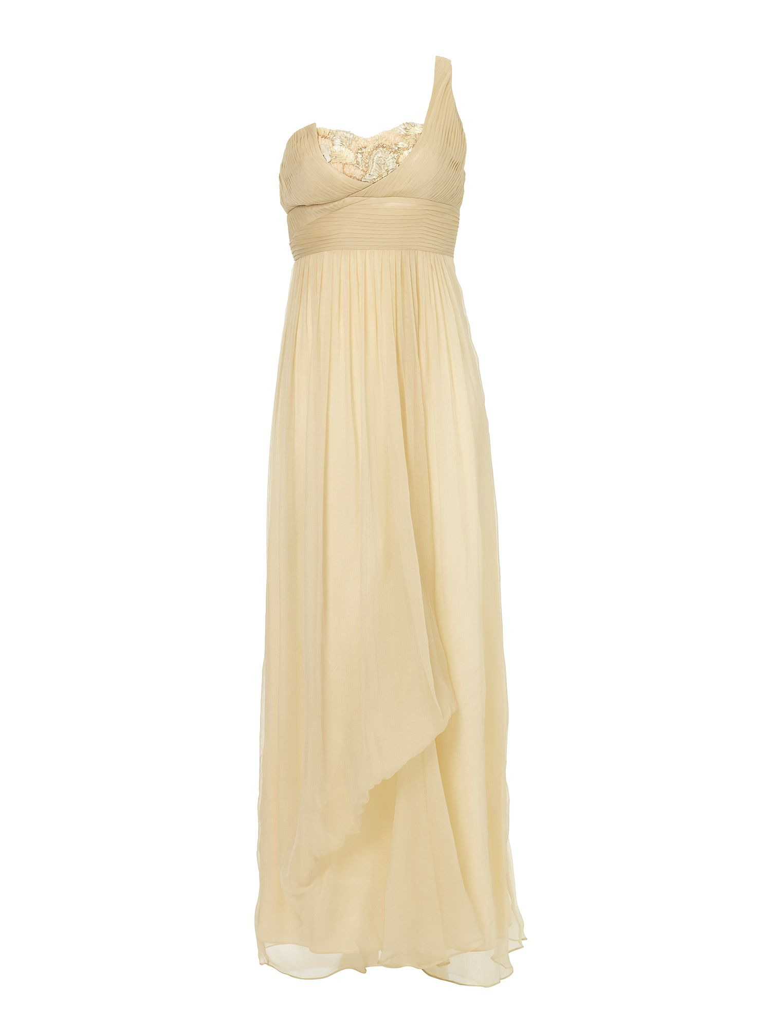 Embellished cross over maxi dress Natural
