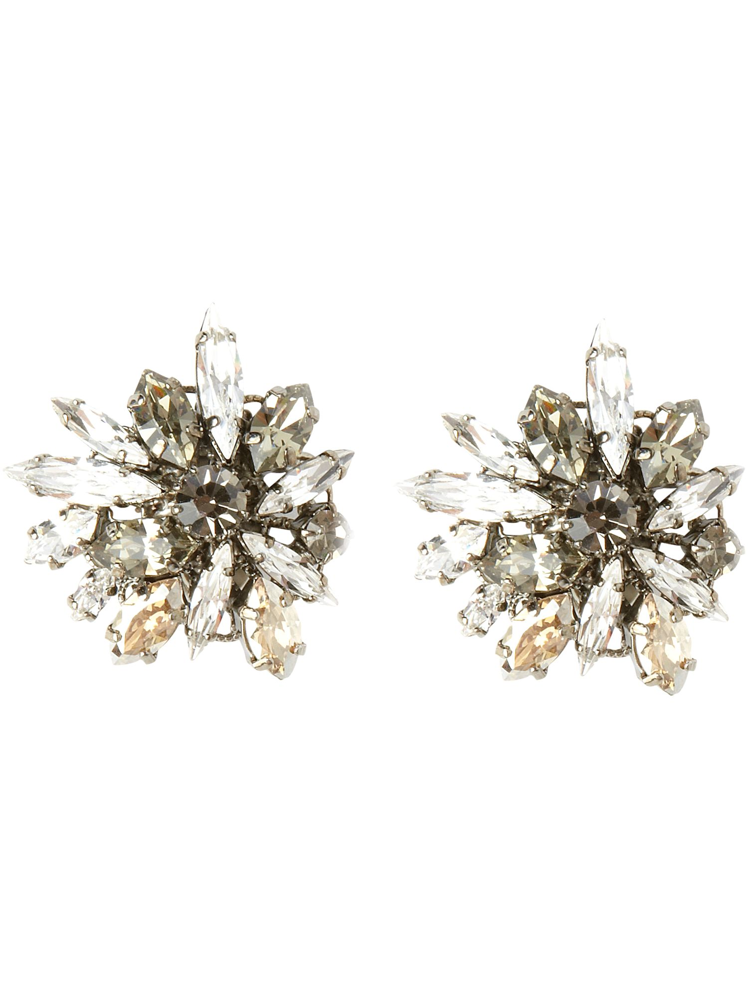 New World Swarovski crystal flower clip earrings