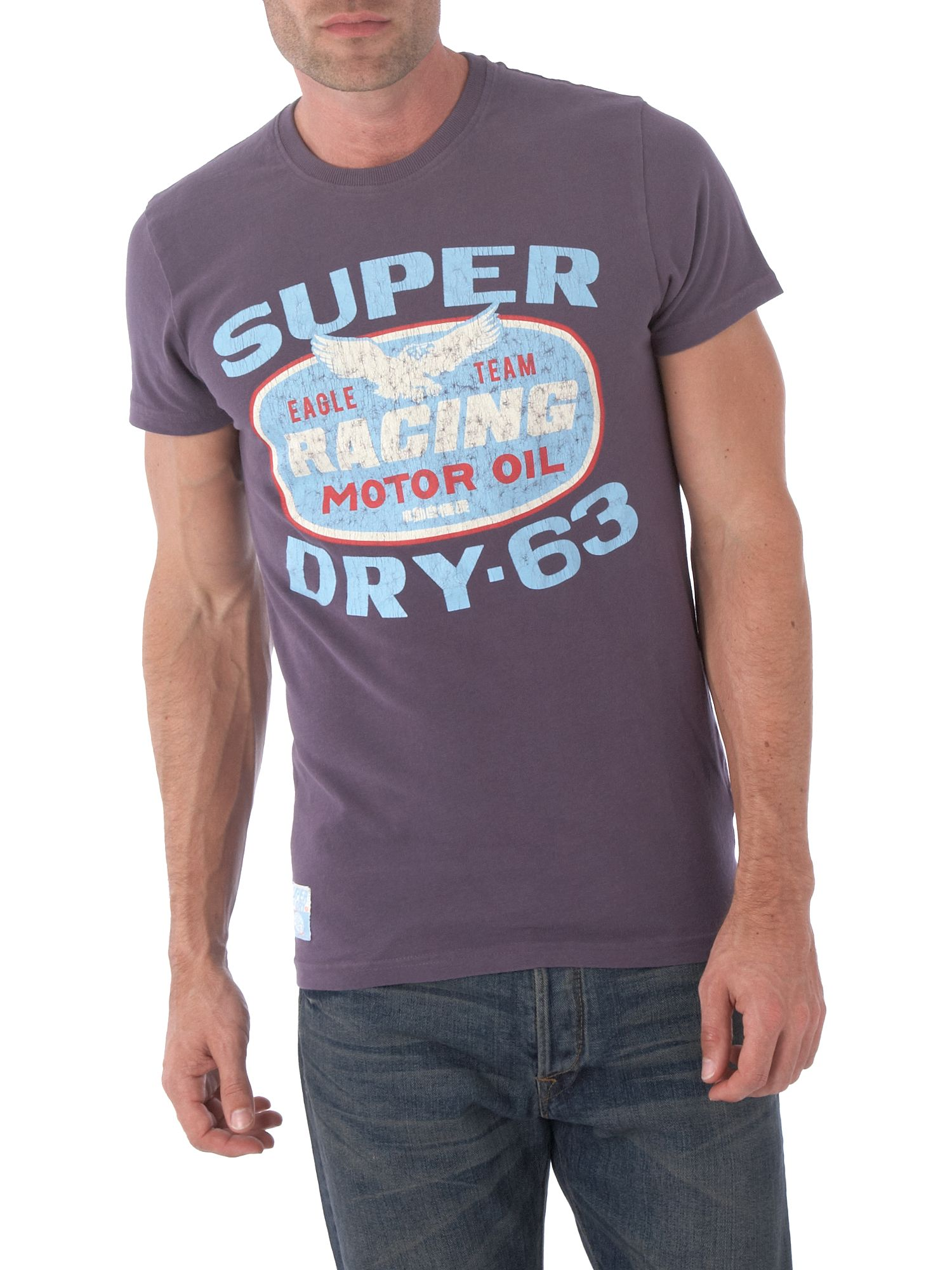 Superdry Mens Superdry Racing oli T-shirt, Grey product image