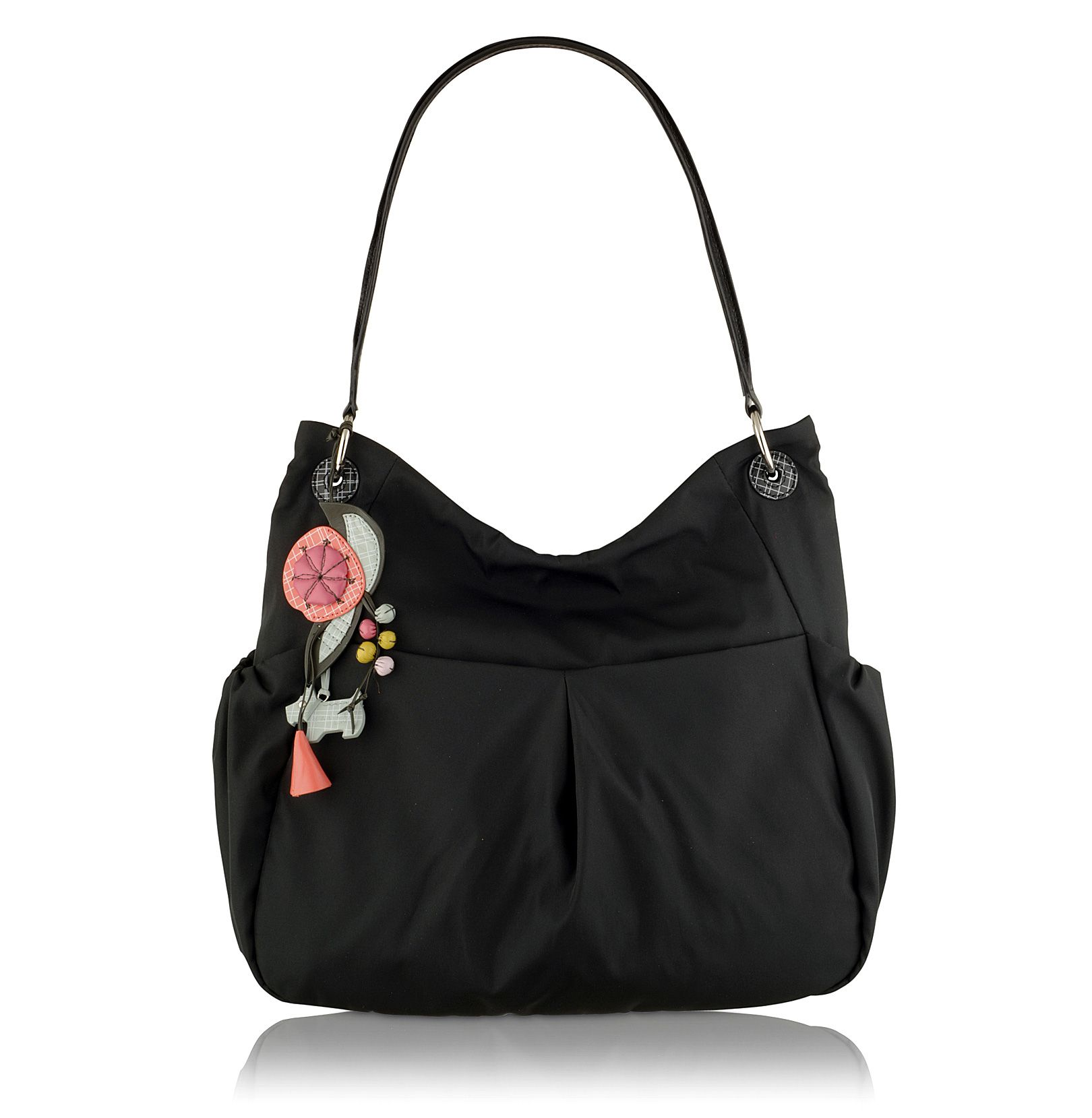 Vanessa large nylon ziptop shoulder bag