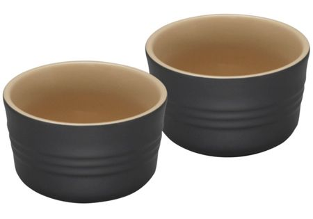 Stoneware Set of 2 Ramekins, Satin Black