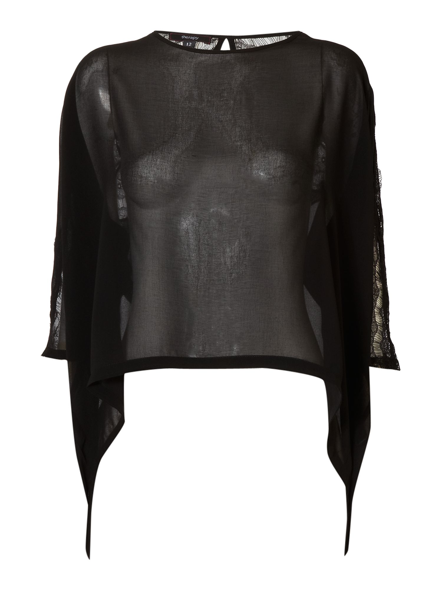 Therapy Lace detail sleeve blouse Black product image