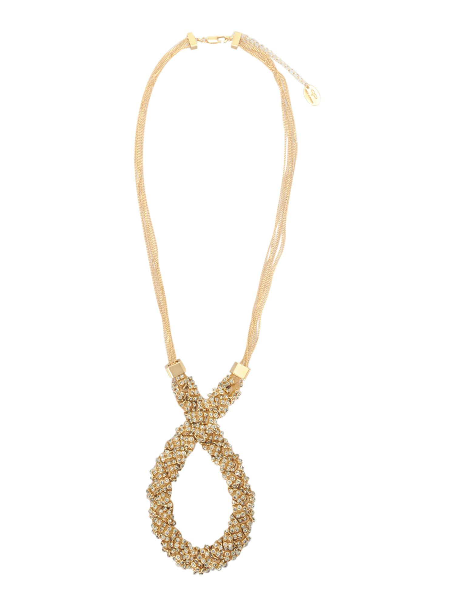 Pied a Terre Leather and rhinestone twist necklace product image