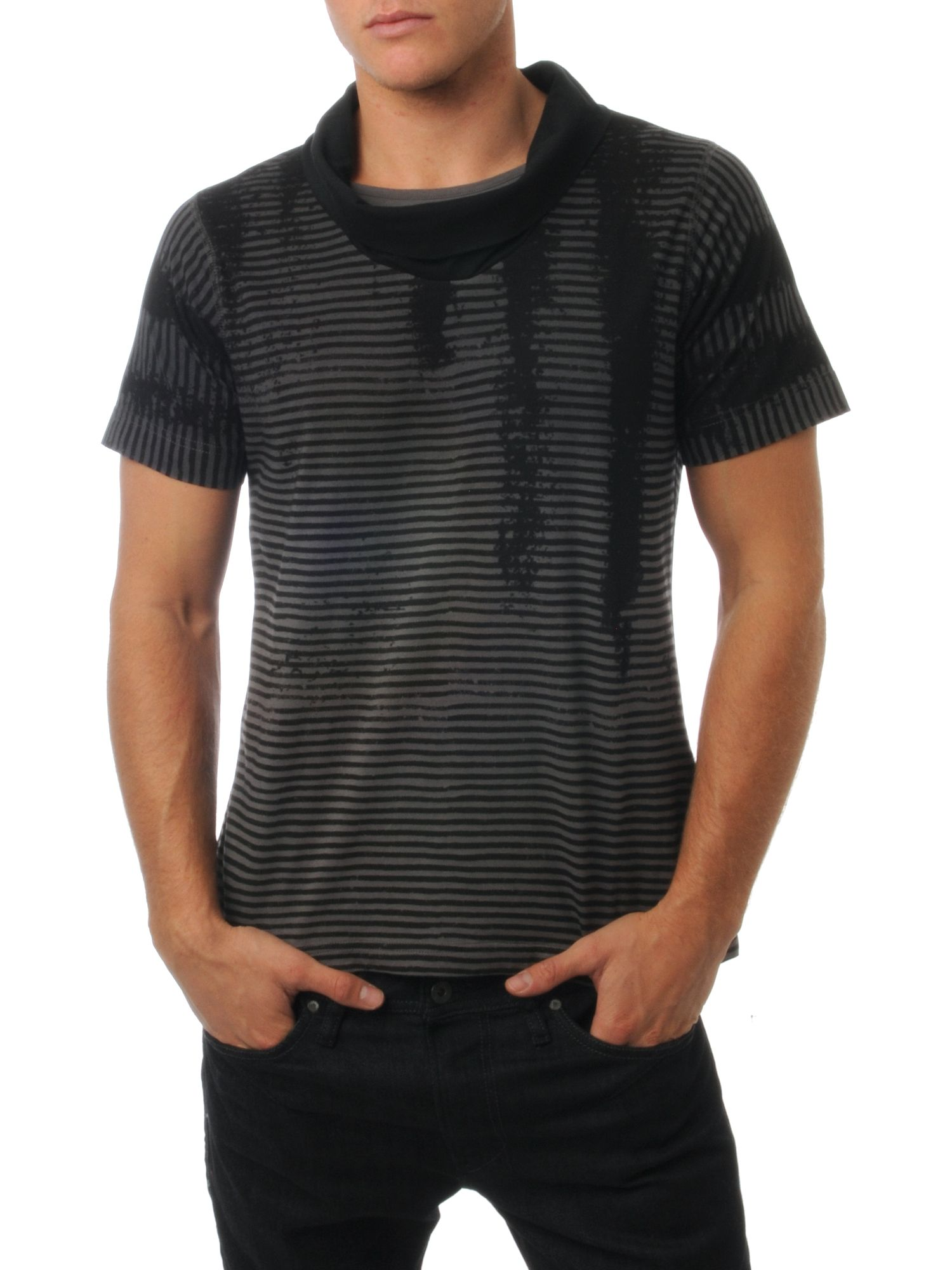 Ringspun striped shawl neck t shirt black review for Shawl collar t shirt