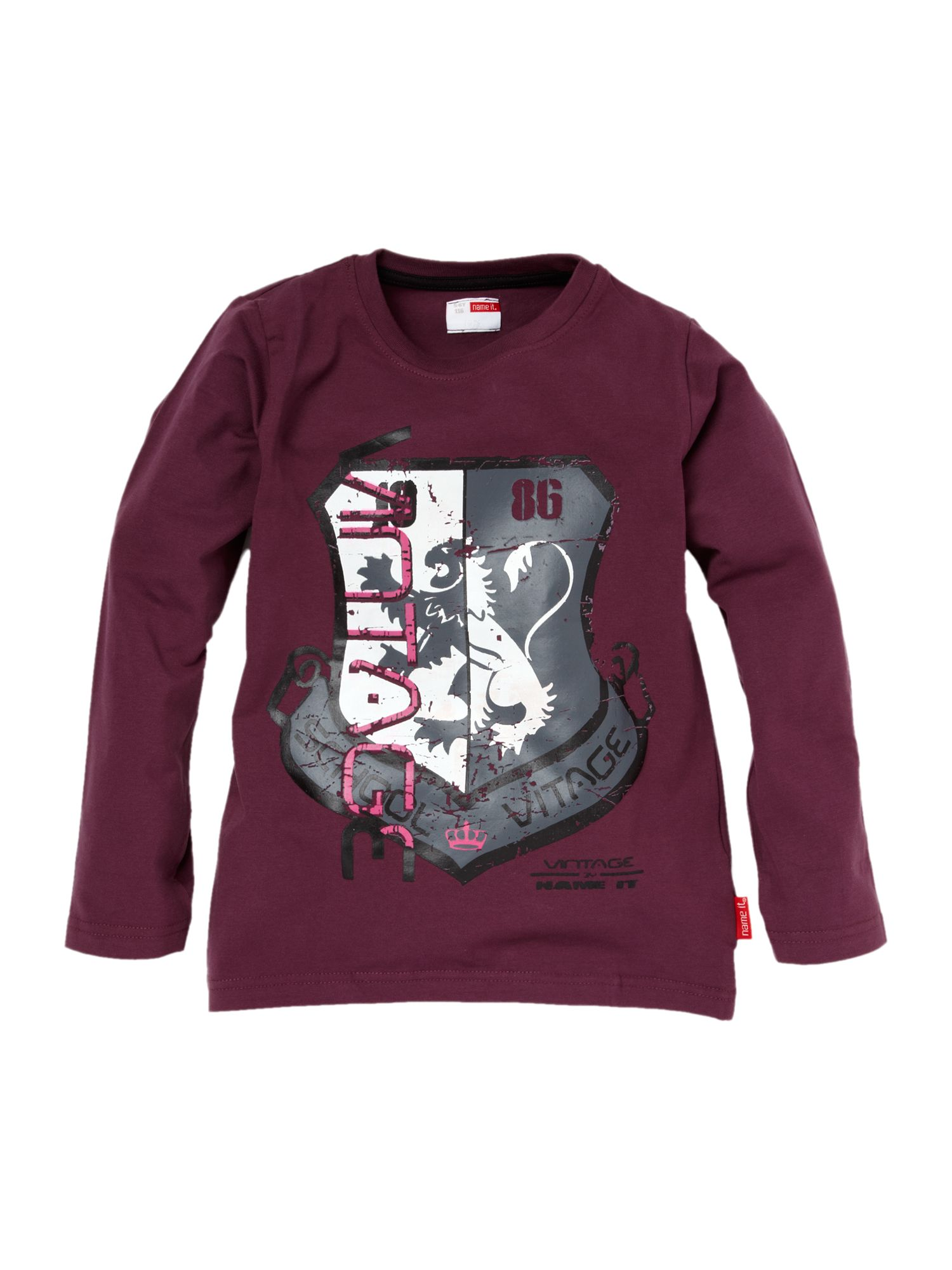 name it long sleeved shield printed t shirt burgundy