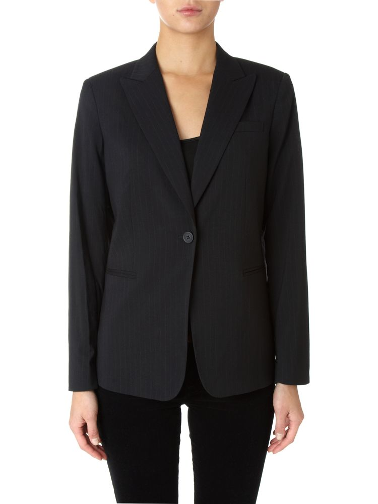 Linea-Pinstripe-1-Button-Blazer-In-Black