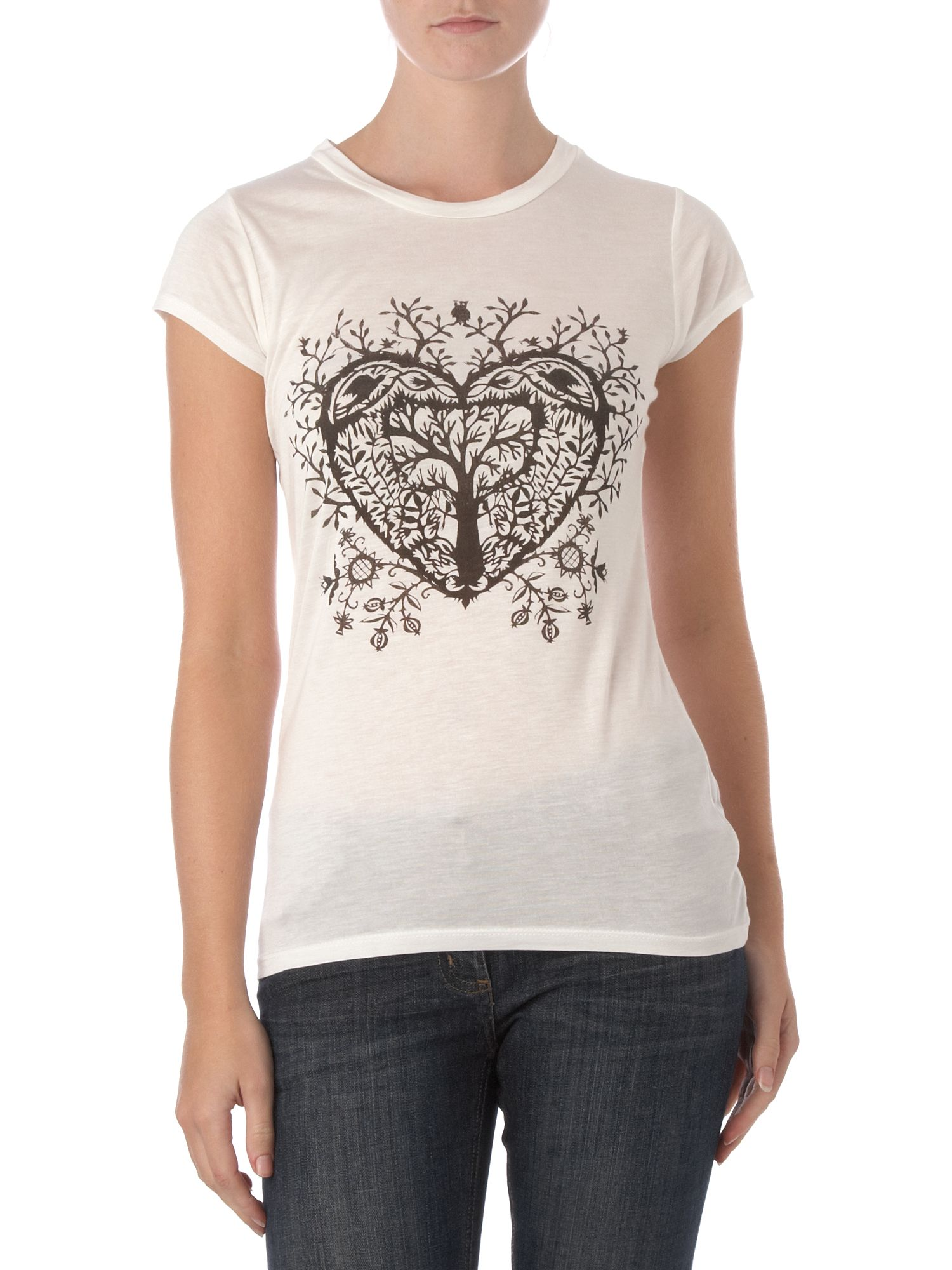 Therapy Heart paper cut out t-shirt - Off White 14 product image