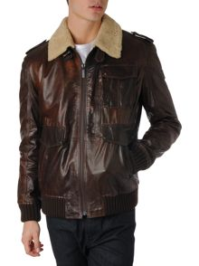 Hugo Boss Leather jacket with shearling collar