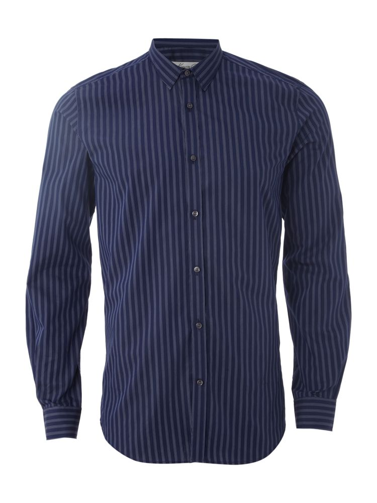 Kenneth-Cole-Triple-White-Stripe-Formal-Shirt-In-Navy