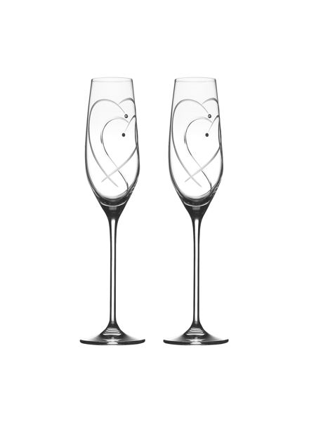 Royal Doulton Toasting flutes two hearts entwined