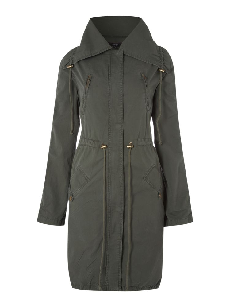 Therapy-Ruched-Sleeve-Oversize-Parka-Jacket-In-Khaki-From-House-of-Fraser