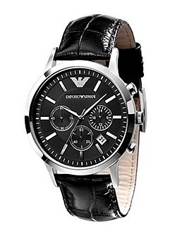 AR2447 Classic Black Leather Mens Watch