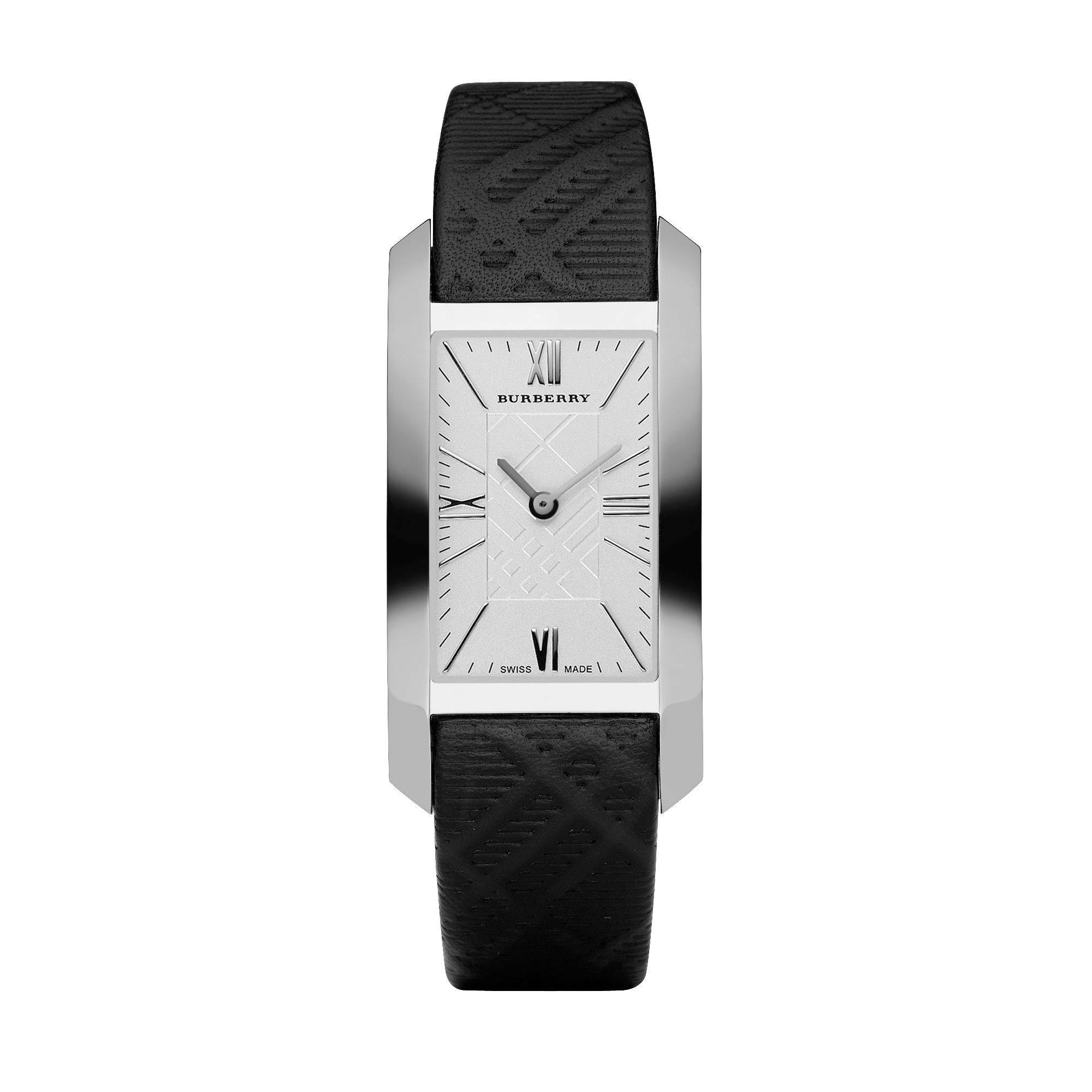 Rectangular Case, Silver dial, black check emboss