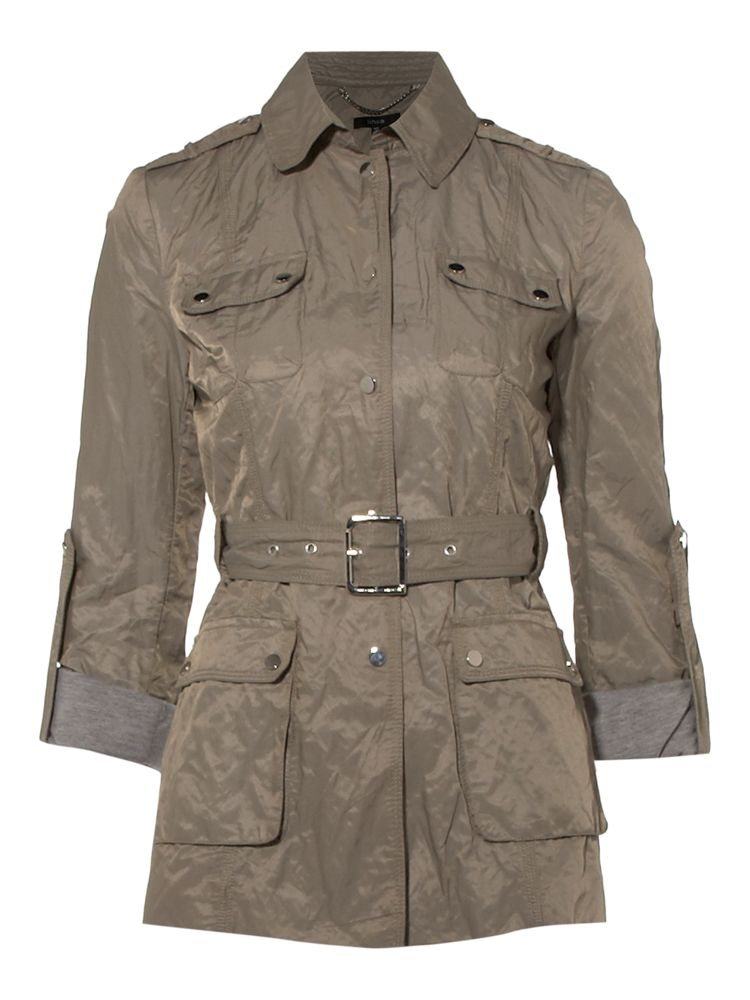 Linea-Centre-Front-Popper-Jacket-In-Khaki