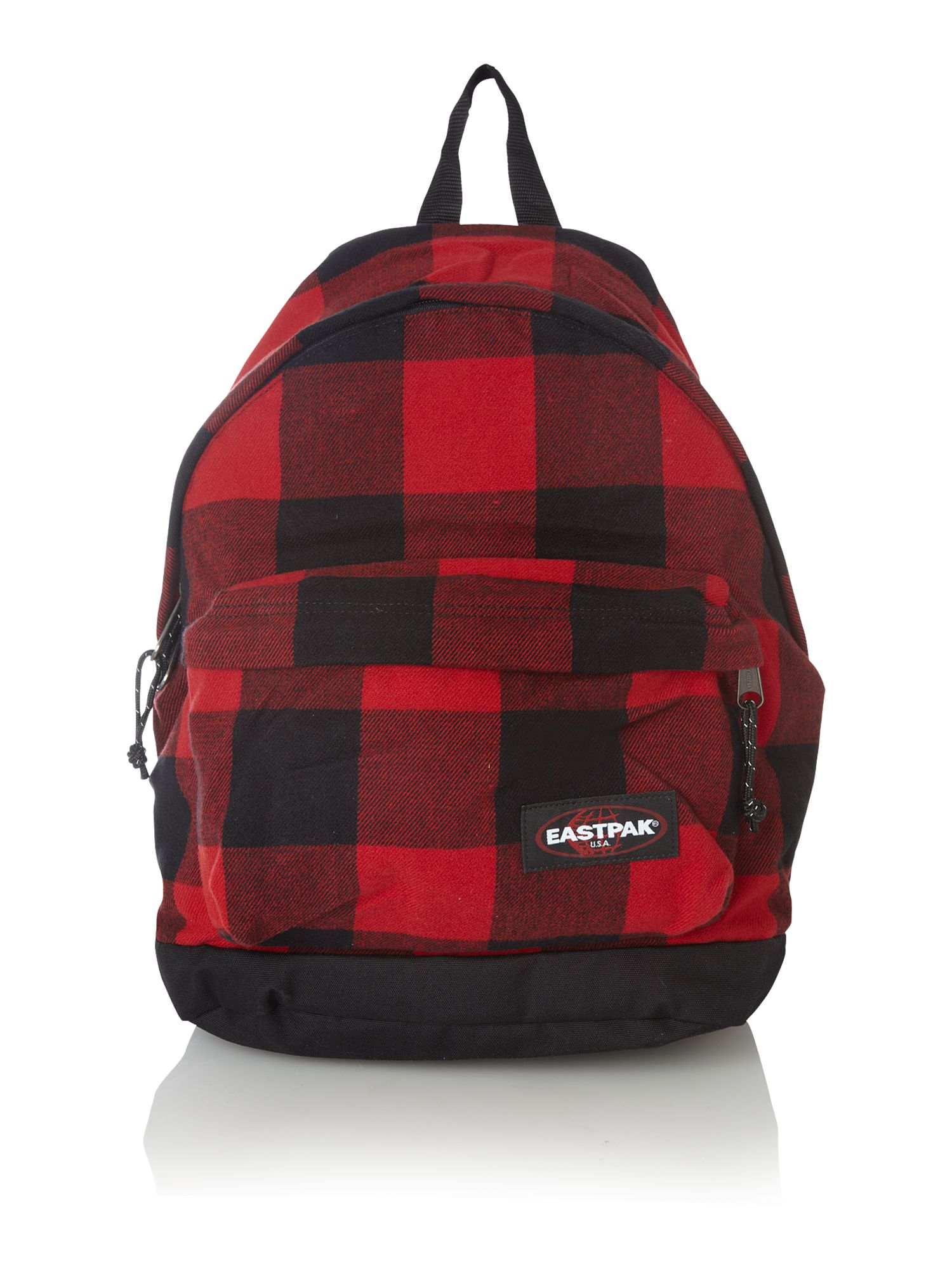 Large check rucksack Red