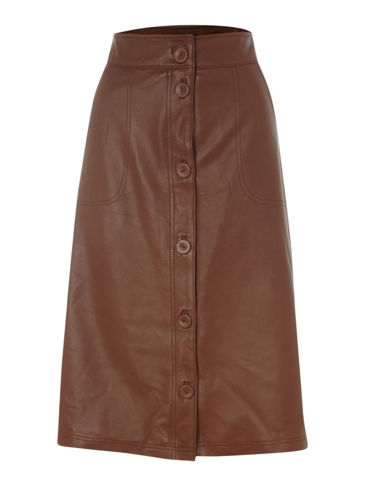 Pied-a-Terre-Leather-A-Line-Skirt-In-Tan