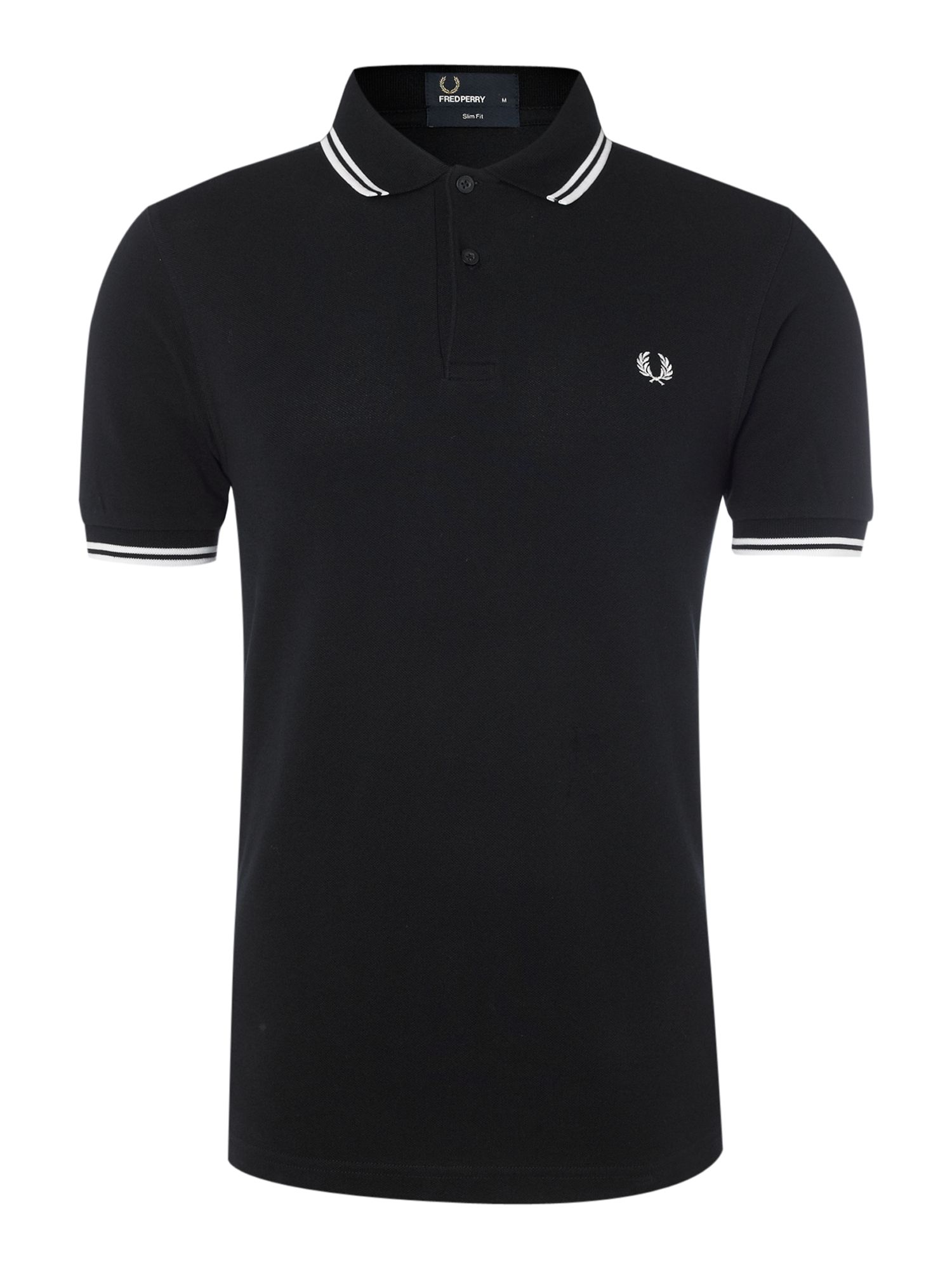 Mens Fred Perry Slim Fitted Twin Tipped Polo Shirt Navy