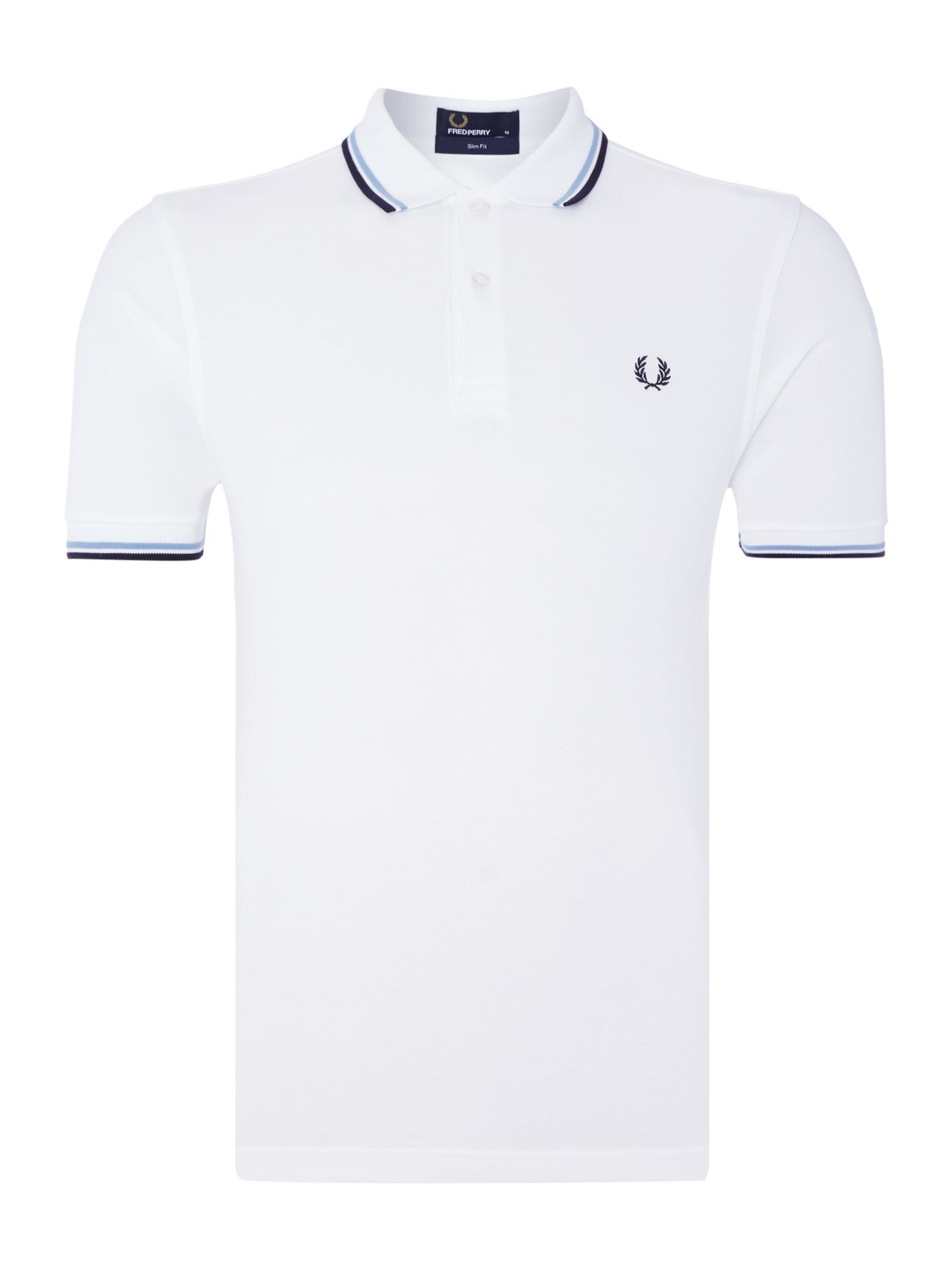 Mens Fred Perry Slim Fitted Twin Tipped Polo Shirt White