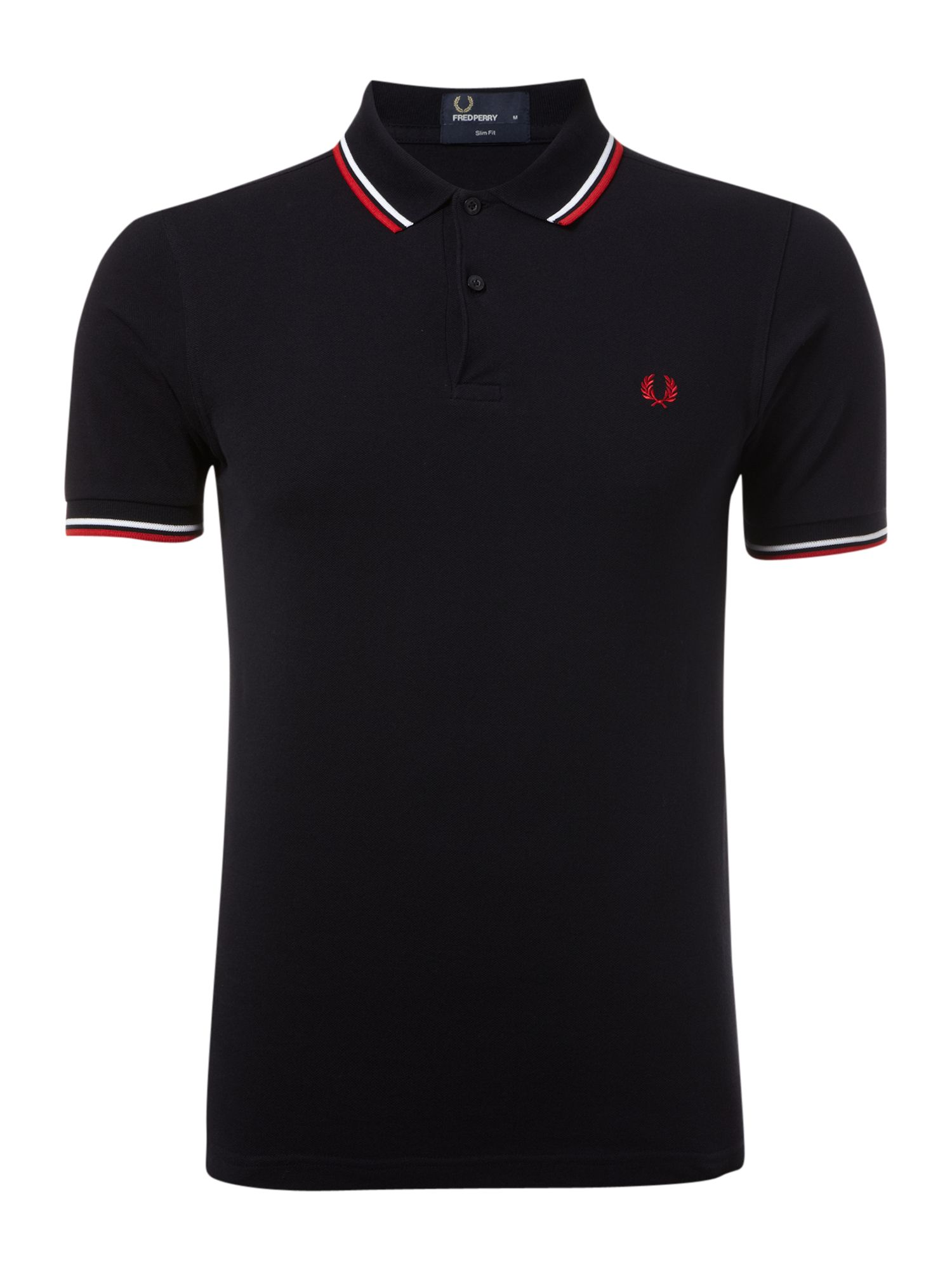 Mens Fred Perry Slim Fitted Twin Tipped Polo Shirt Dark Blue