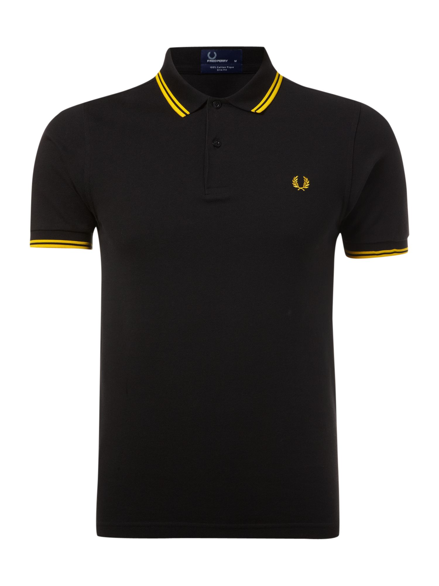 Mens Fred Perry Slim fitted twin tipped polo shirt Black