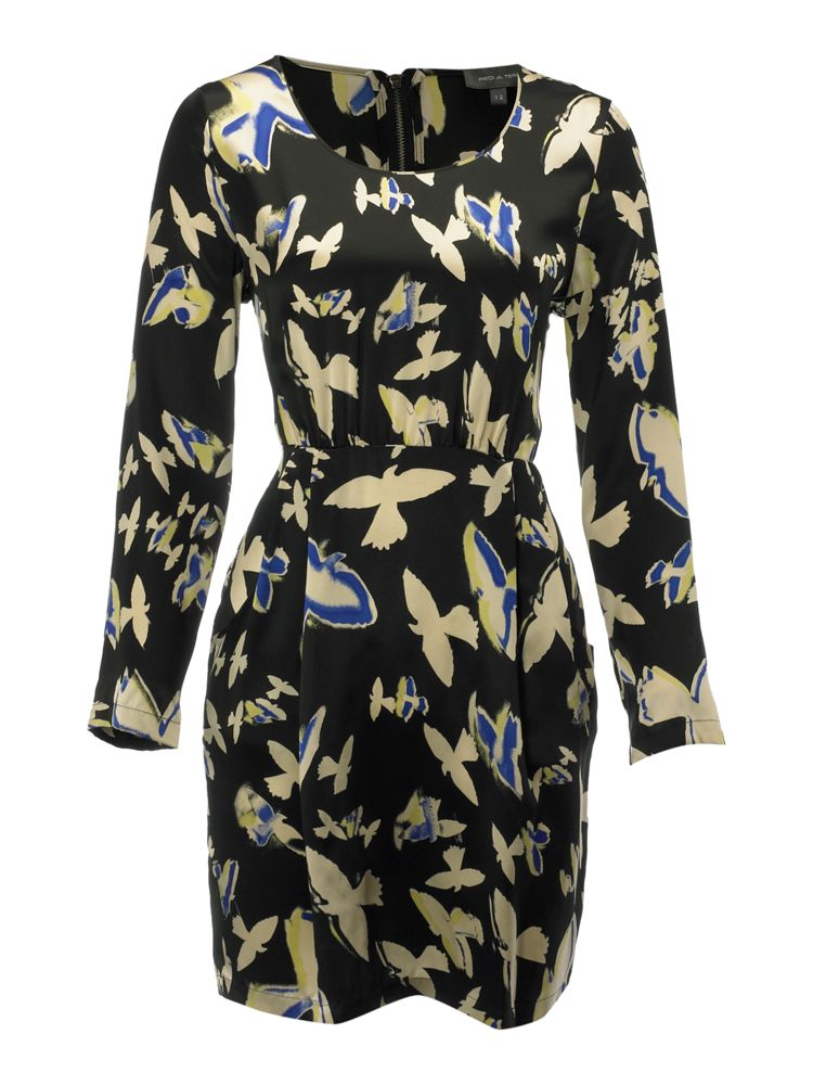 Pied-A-Terre-Swallow-Print-Cocoon-Dress-In-Multi-Coloured