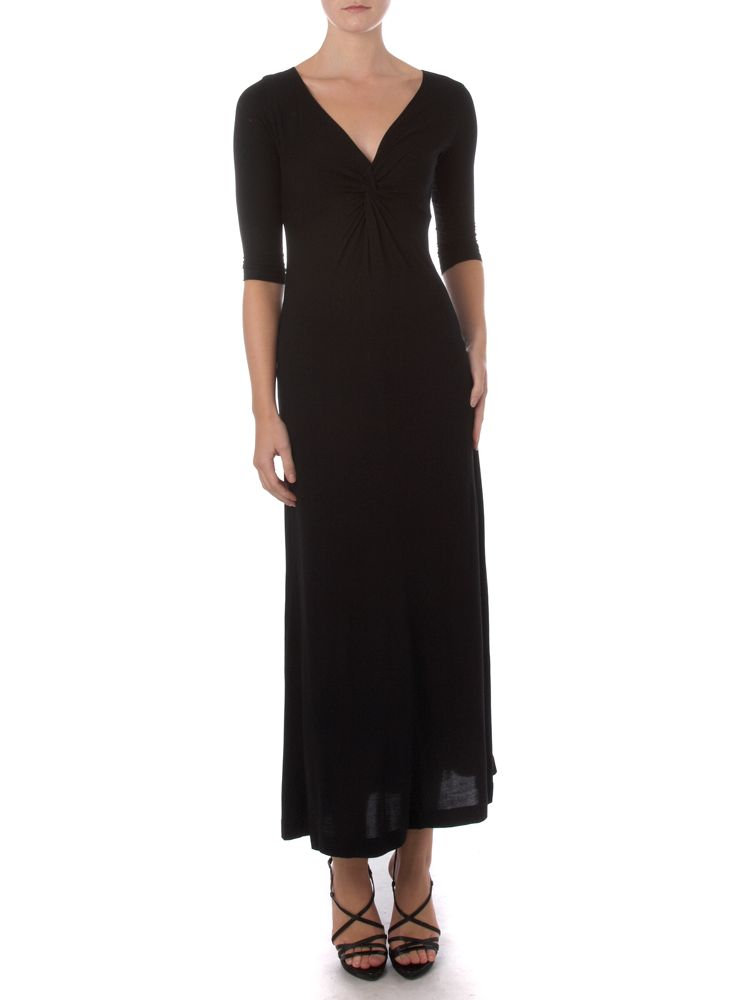 Linea-Twist-Front-Maxi-Dress-In-Black