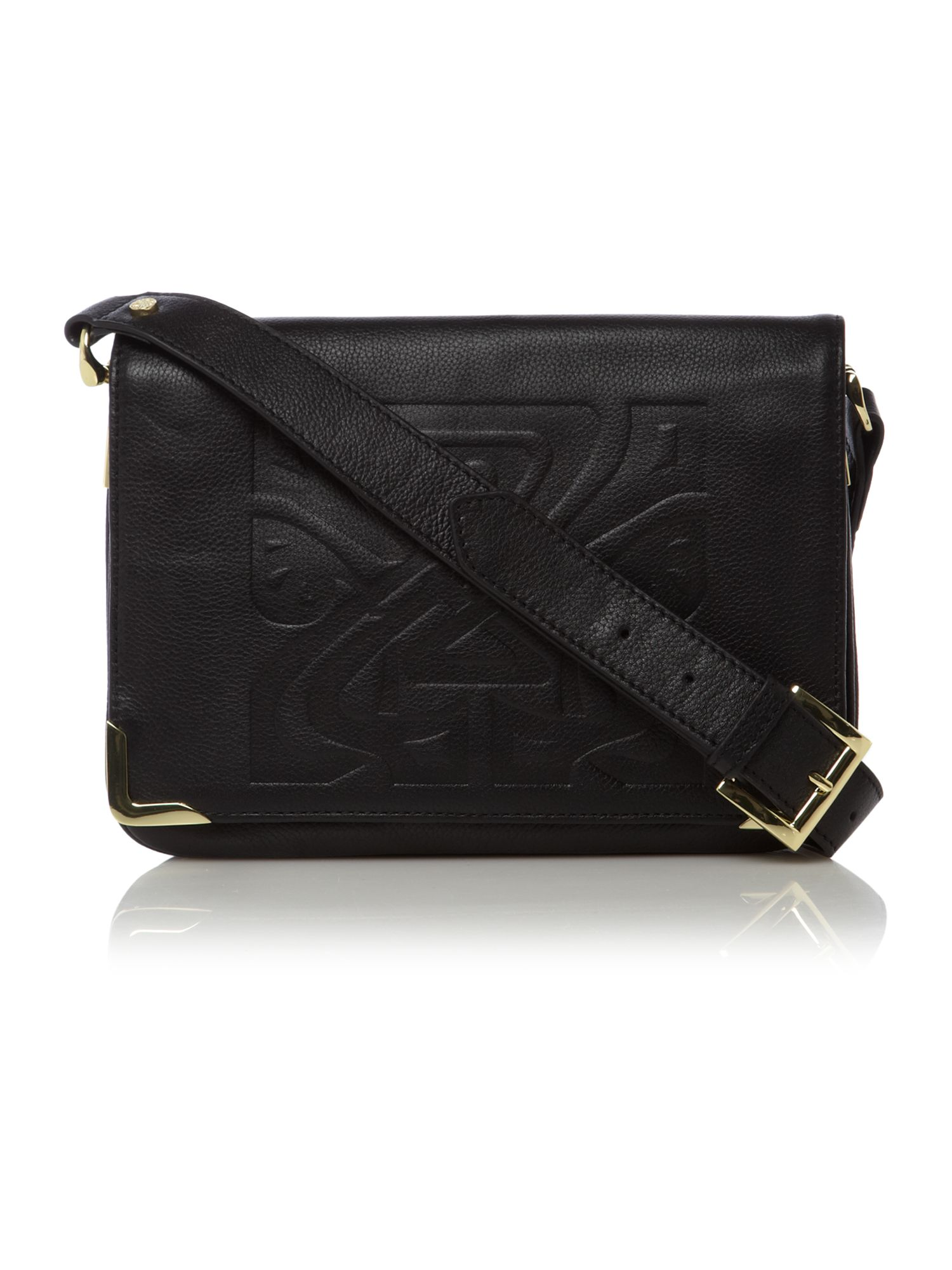 Gretal embossed leather logo shoulder bag