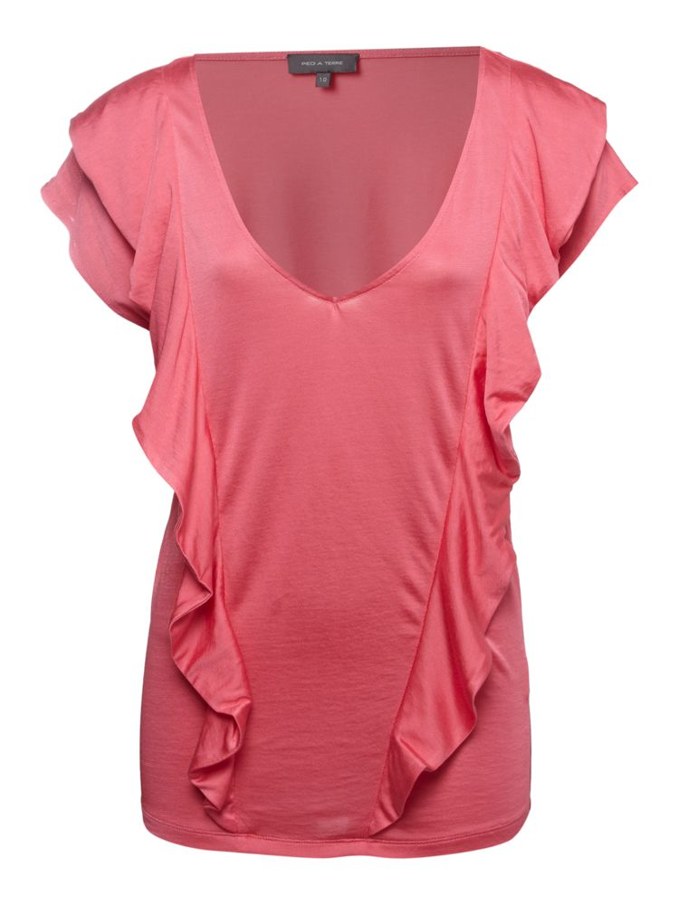 Pied-a-Terre-Frill-Front-Silk-Jersey-Tee-In-Pink