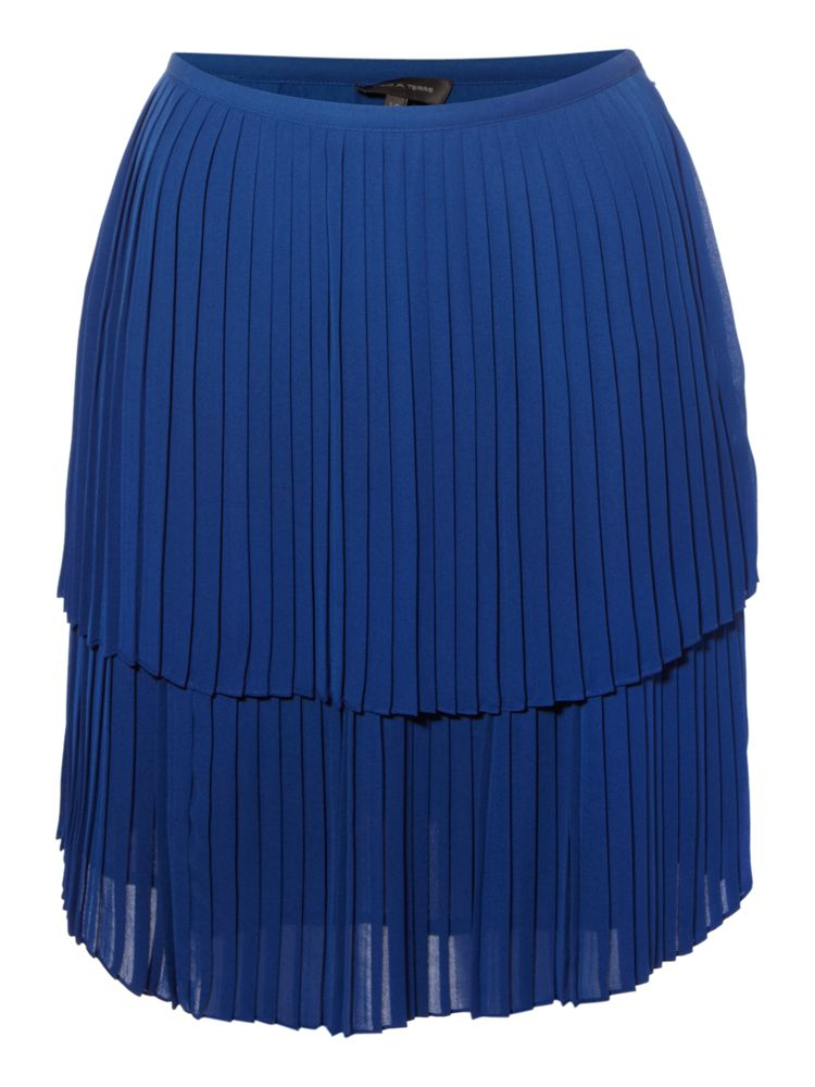 Pied-a-Terre-Pleated-Colour-Block-Skirt-In-Blue