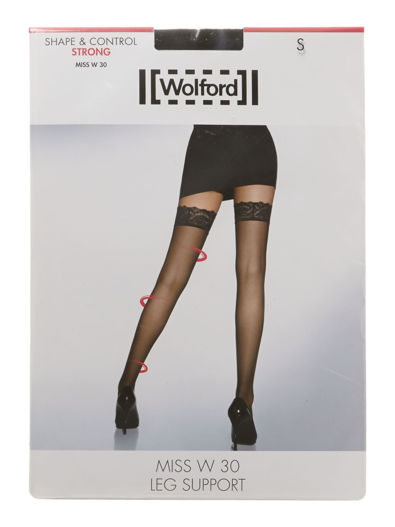 Wolford Miss W leg support 30 denier hold ups Black
