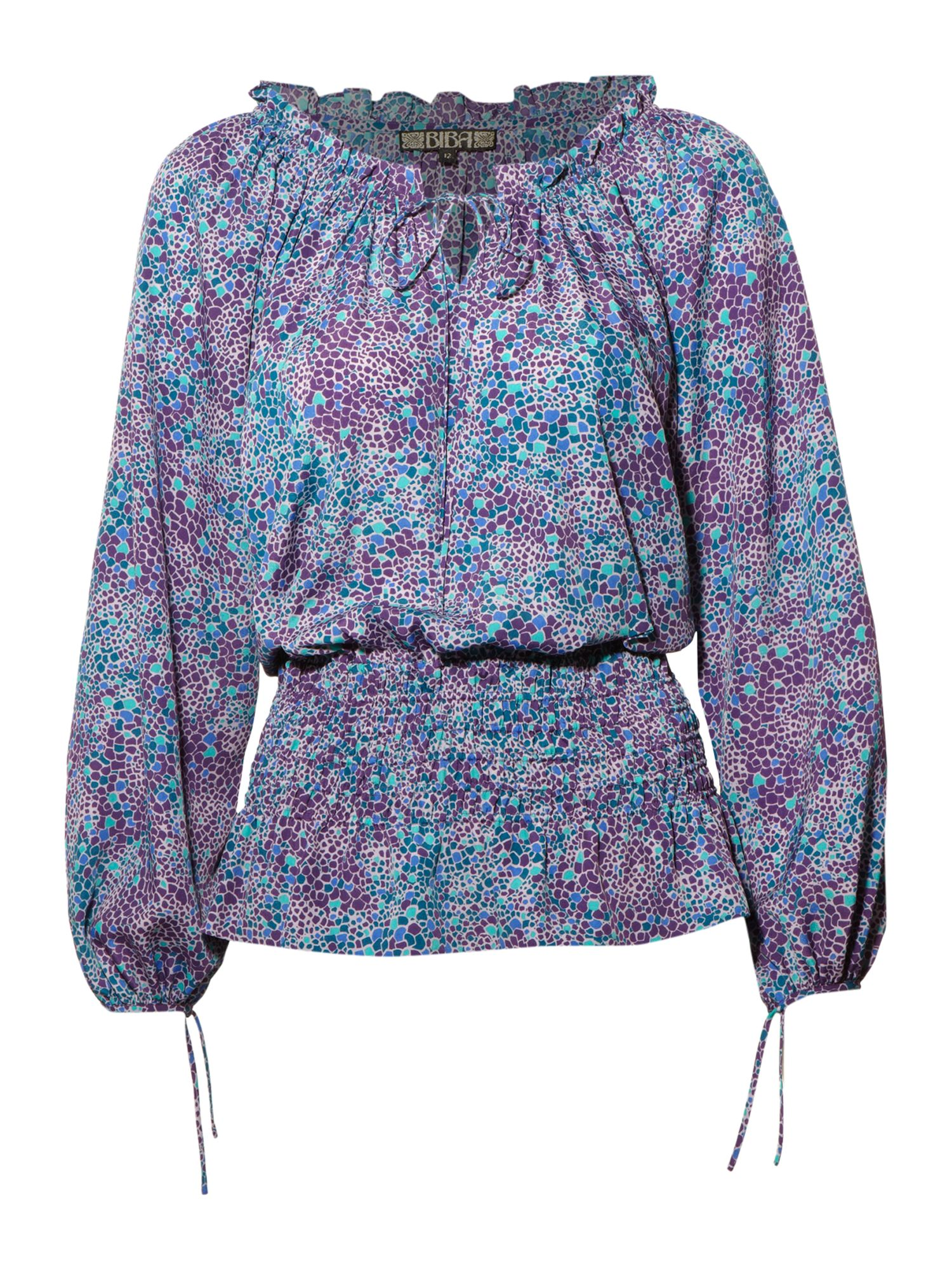 Mosaic print peasant blouse, Multi-Coloured