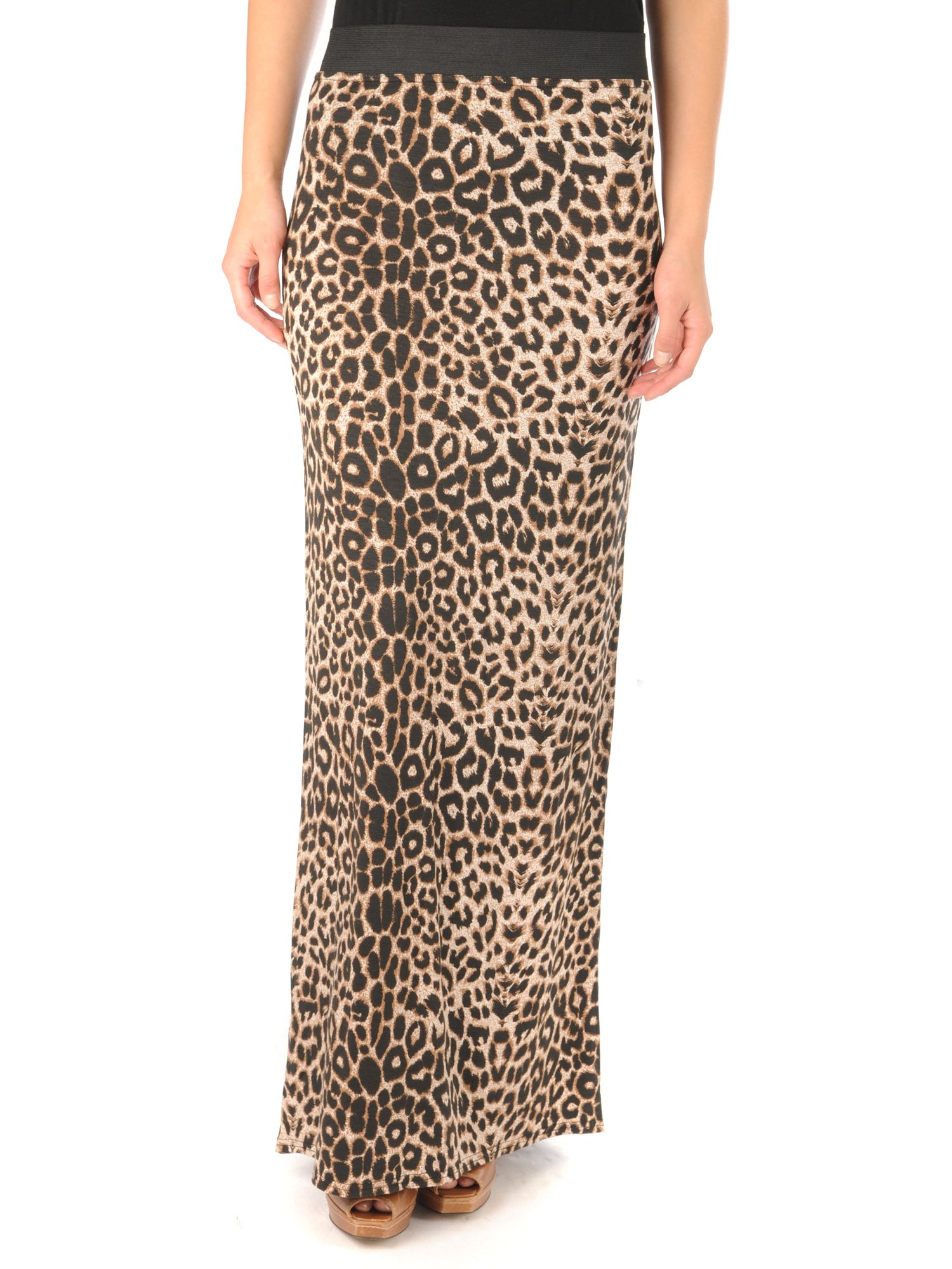 clothing therapy leopard print maxi skirt multi colo