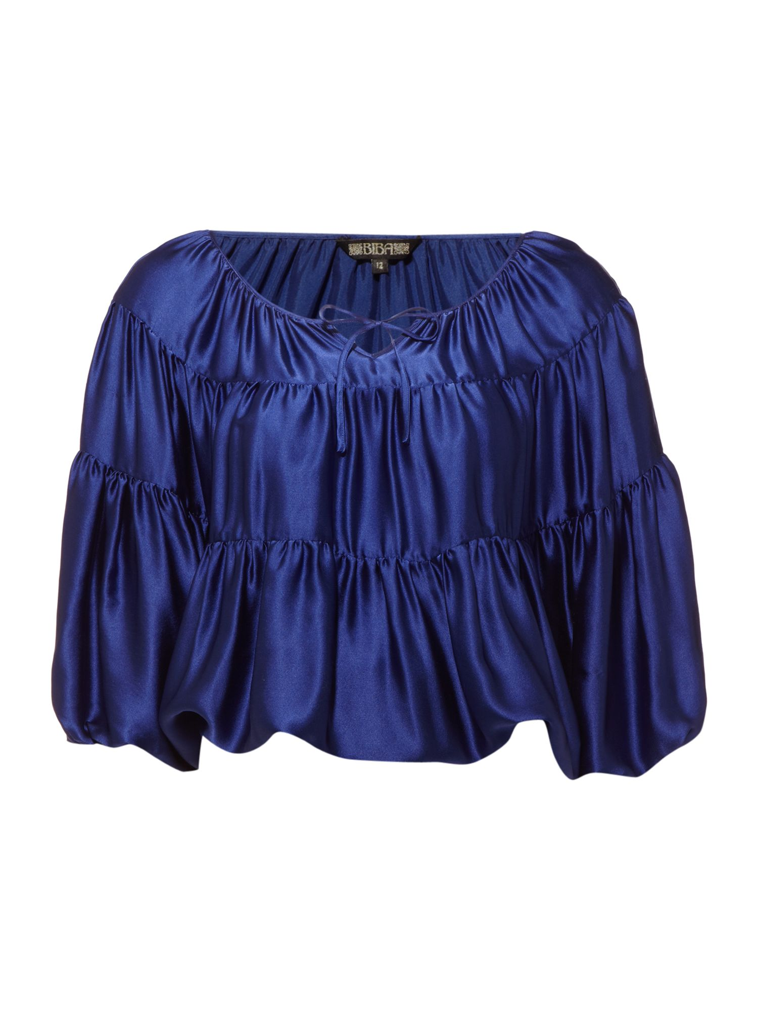 Womens Biba silk satin cape blouse, Purple