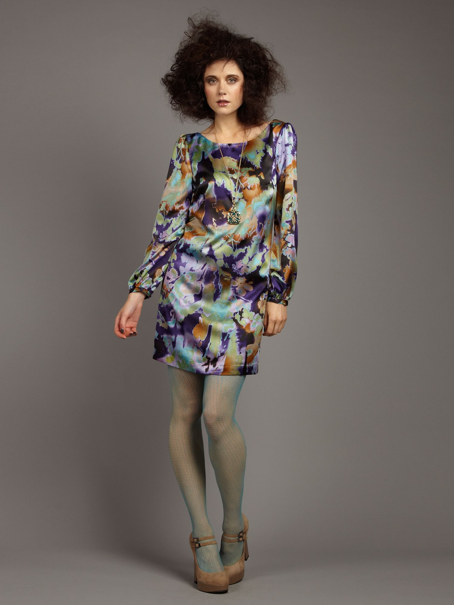 Abstract print bell sleeve shift dress