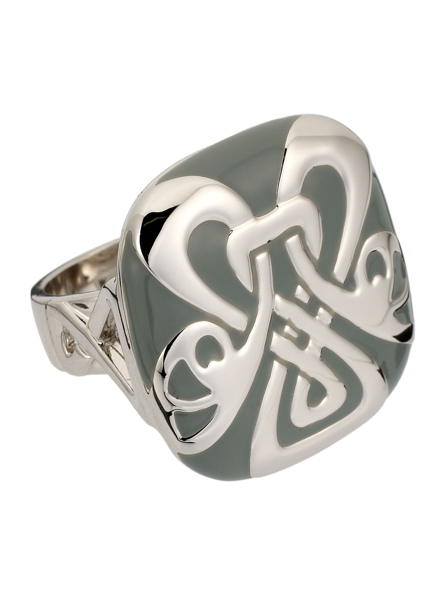 Biba Grey and silver logo ring, Silver