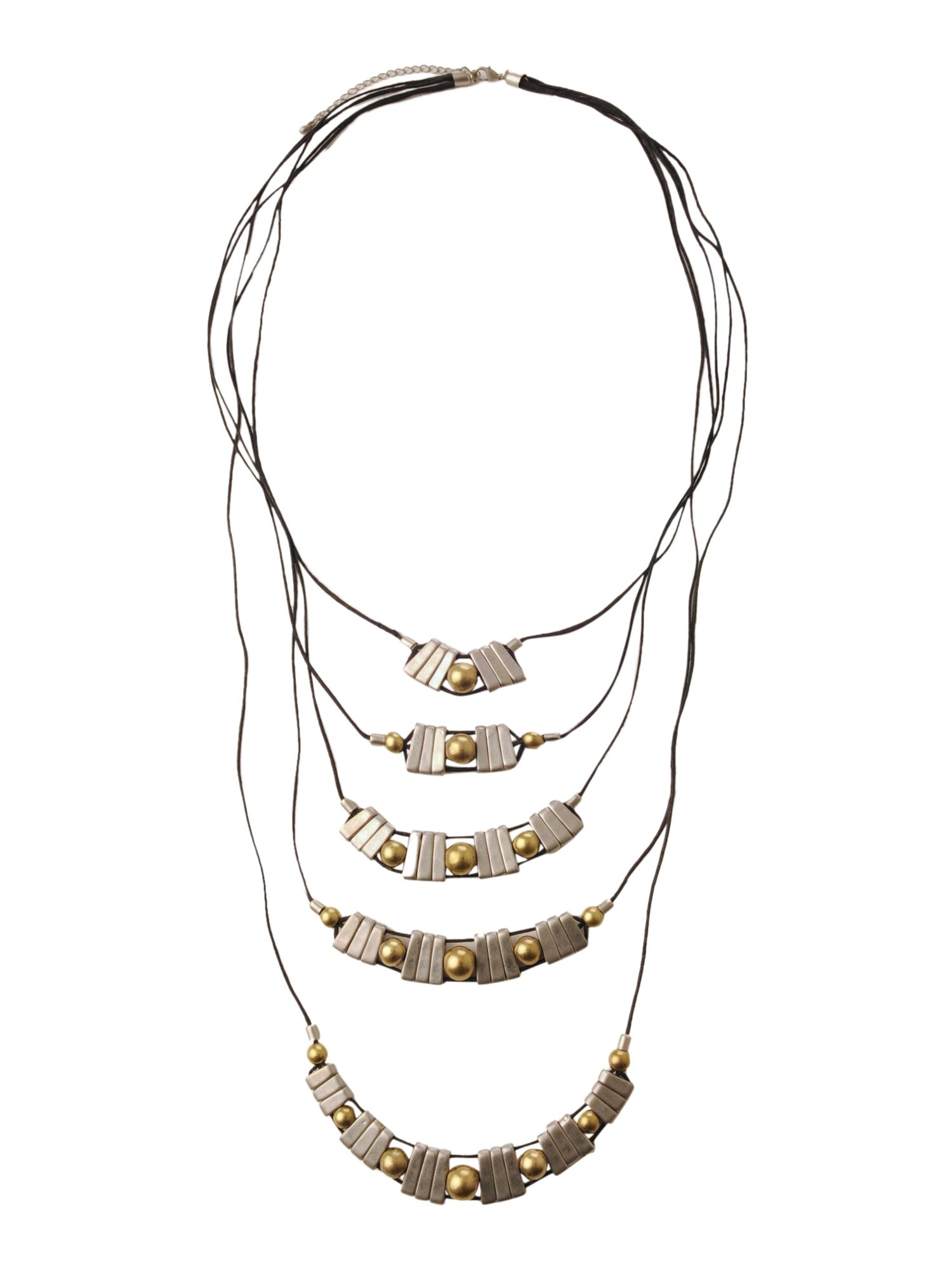 Label Lab Five row cord and disc necklace