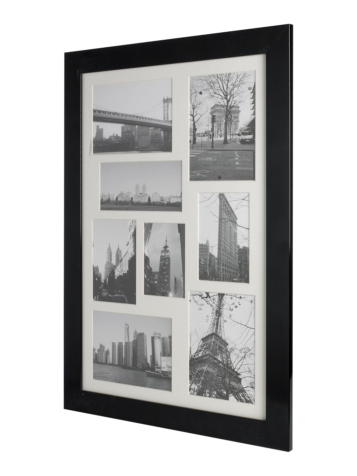 Glossy black multi aperture photo frame