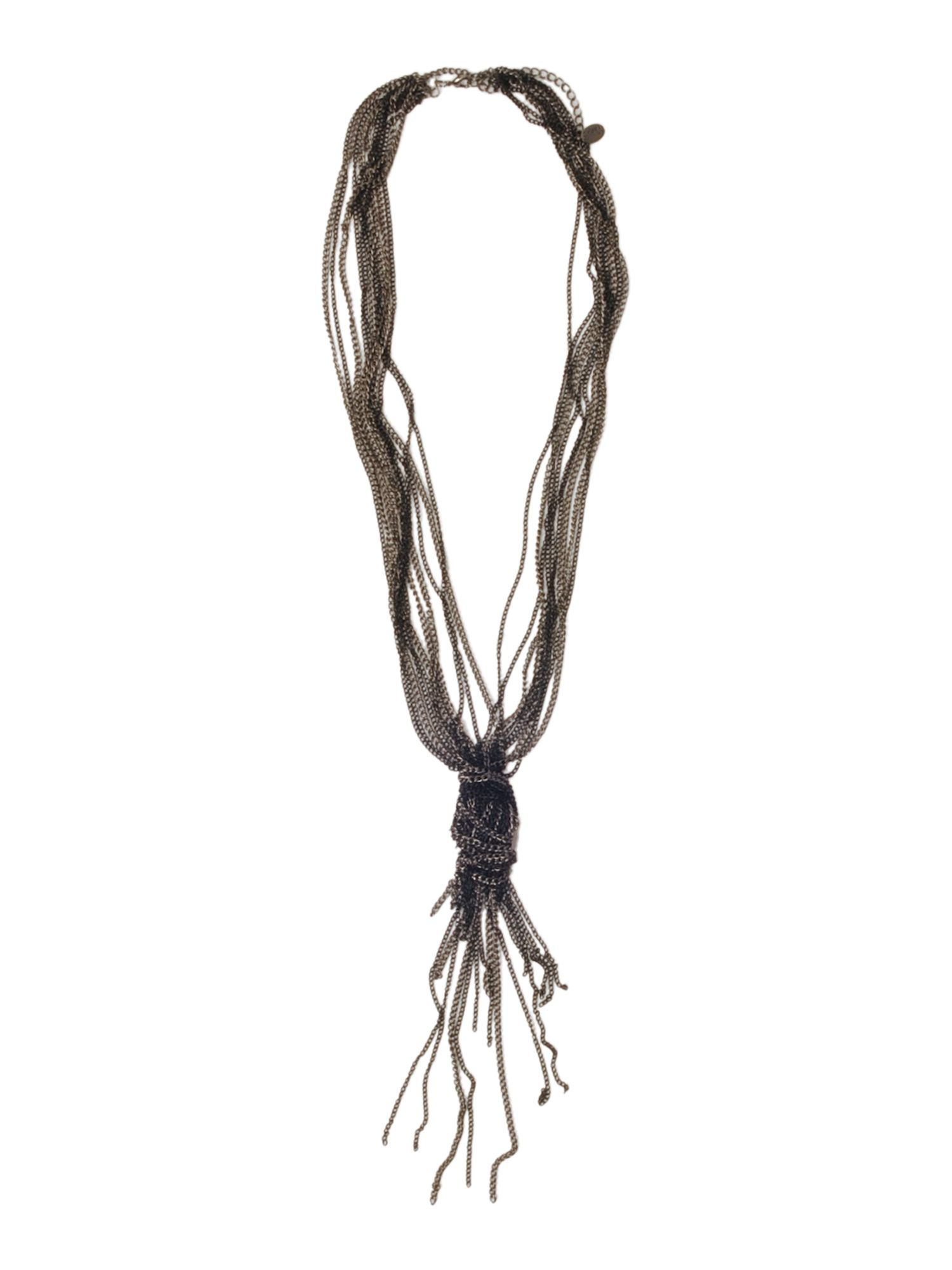 Label Lab Long gunmetal knotted necklace